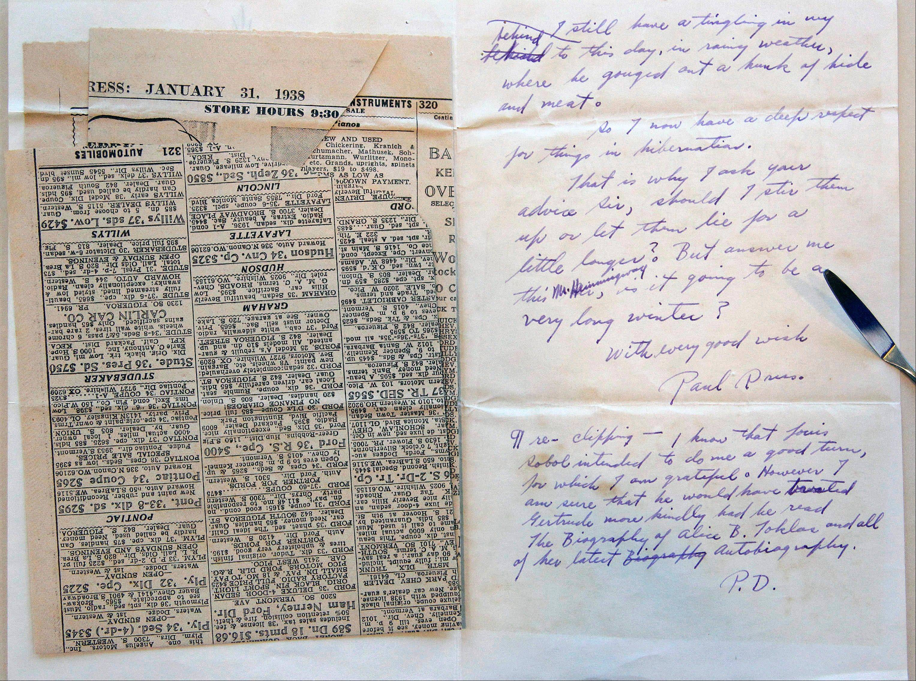 A letter and newspaper clipping sent to Ernest Hemingway from writer Paul Drus in 1938.