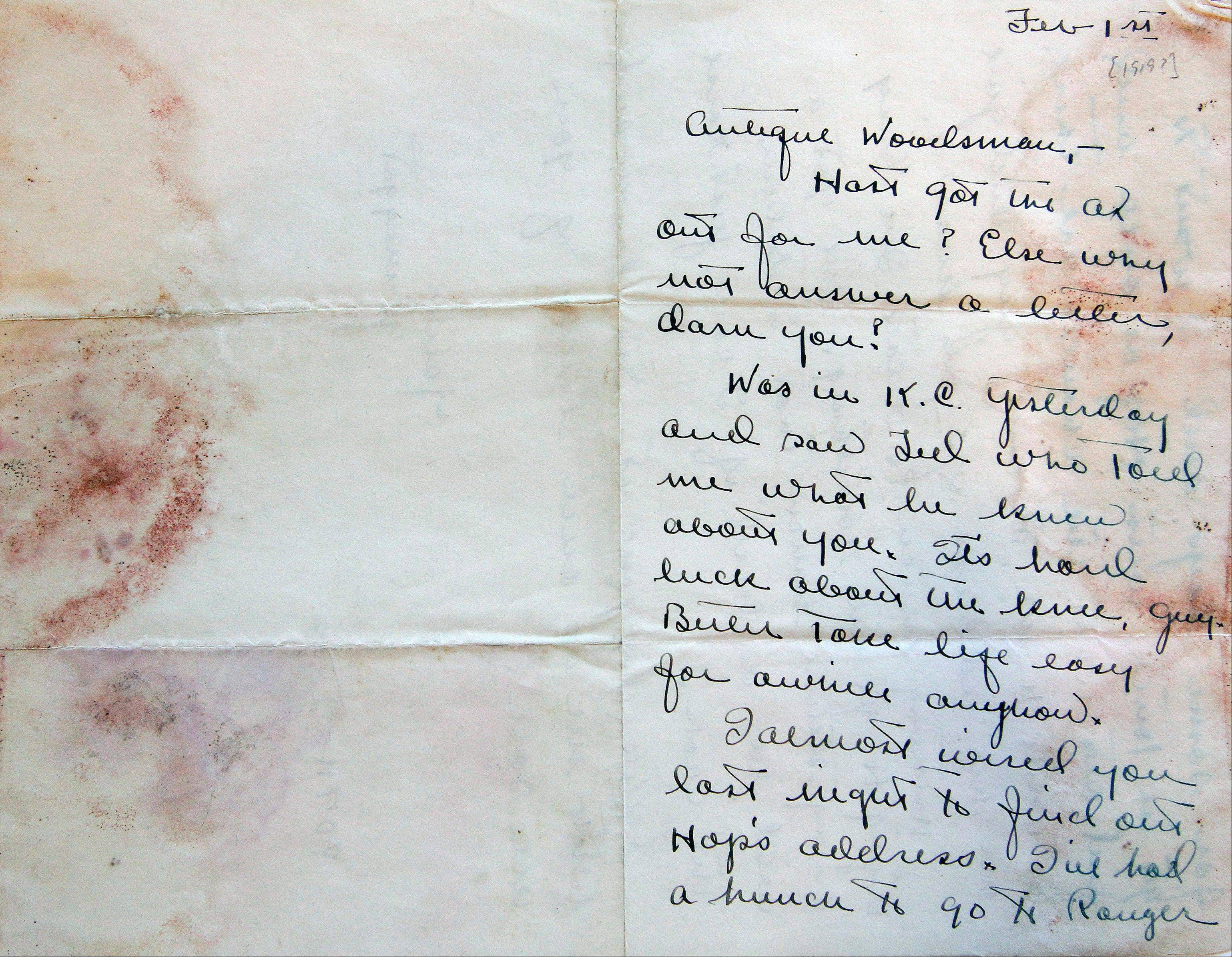 A letter sent to Ernest Hemingway from boyhood friend Carl Edgar around 1919, a part of the Hemingway collection at the John F. Kennedy Library and Museum, in Boston.