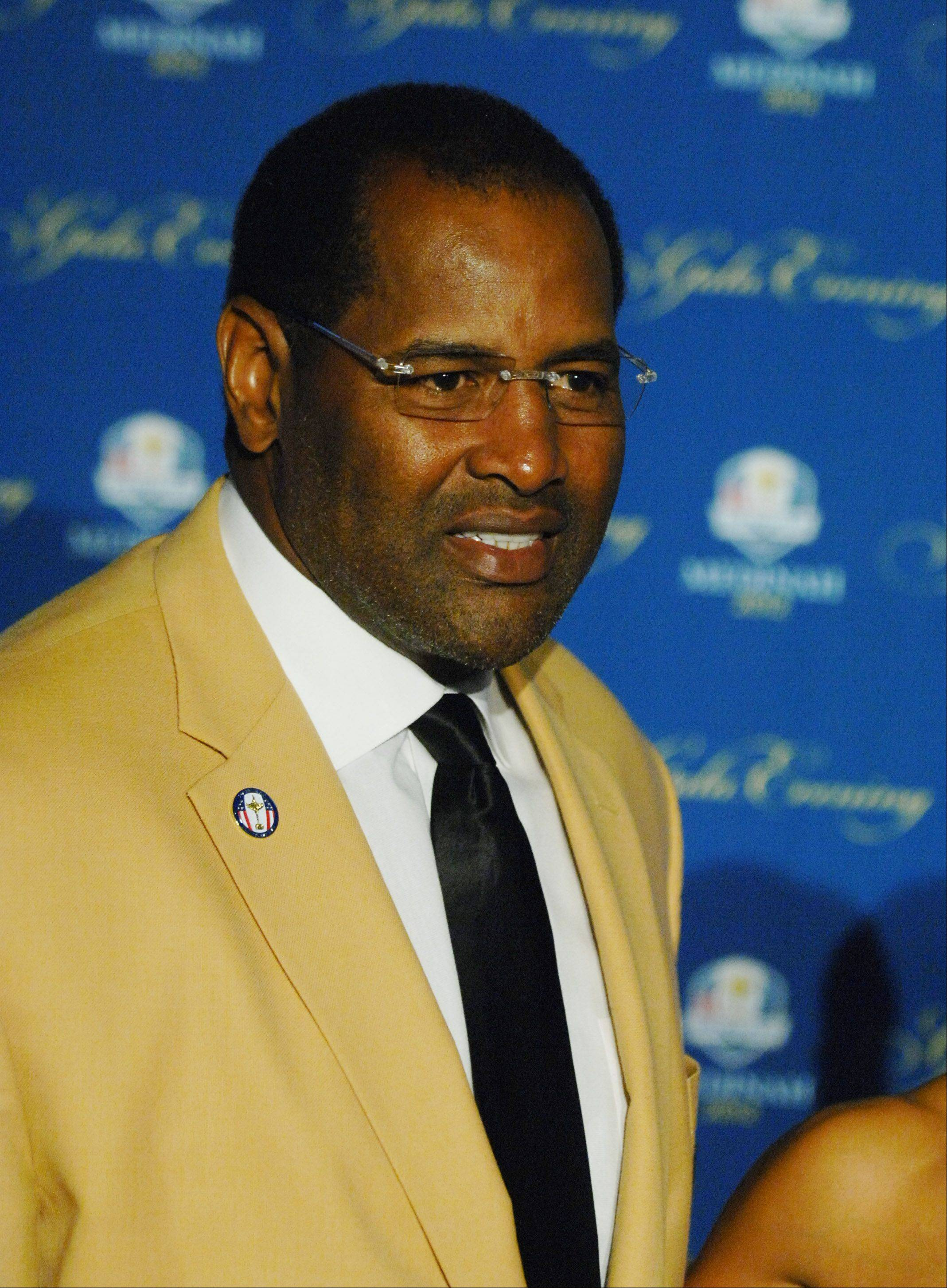 Bears great Richard Dent walks the 39th Ryder Cup Gala red carpet at the Akoo Theatre in Rosemont Wednesday.
