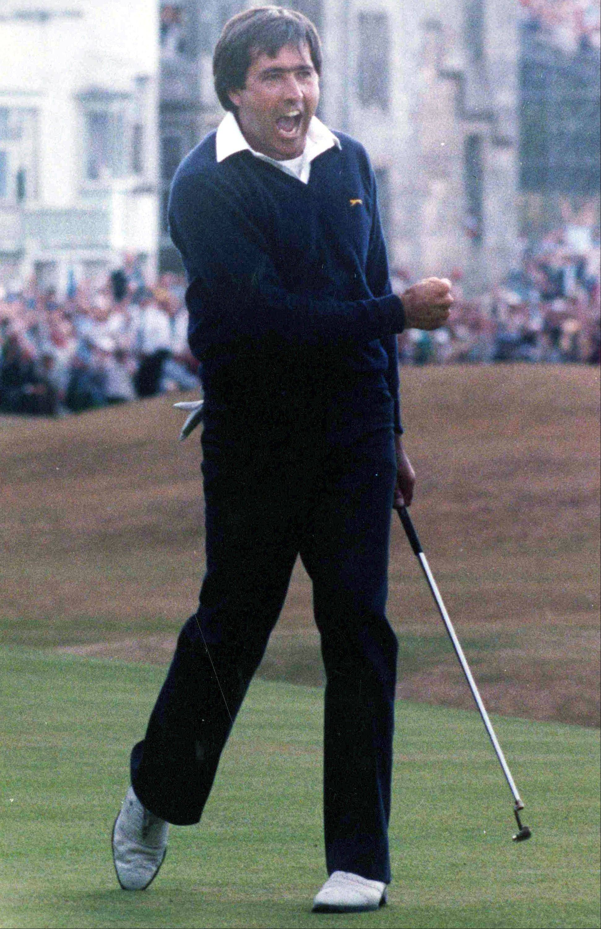 Spain's Severiano Ballesteros celebrates winning the British Open golf tournament at St. Andrews, Scotland. Longtime friend Jose Maria Olazabal revealed on Tuesday that Europe is honoring the memory of Seve Ballesteros by putting his iconic image on its golf bags. The bags have a silhouette that depicts Ballesteros' reaction to winning the 1984 British Open at St. Andrews. This is the first Ryder Cup without Ballesteros, who died in May 2011.