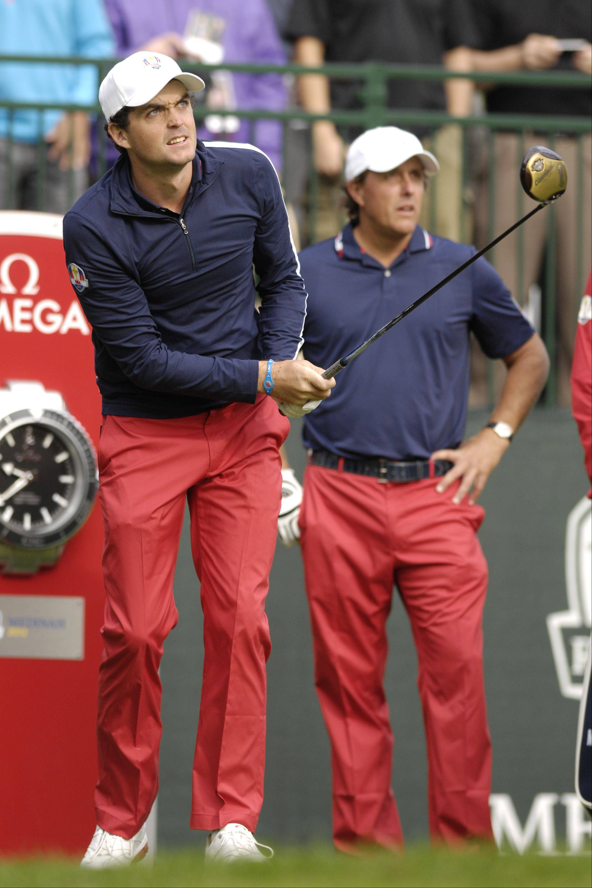 Keegan Bradley and Phil Mickelson of Team USA could be a likely pairing at the Ryder Cup. Mickelson said he likes the energy and enthusiasm the rookie brings to the course.