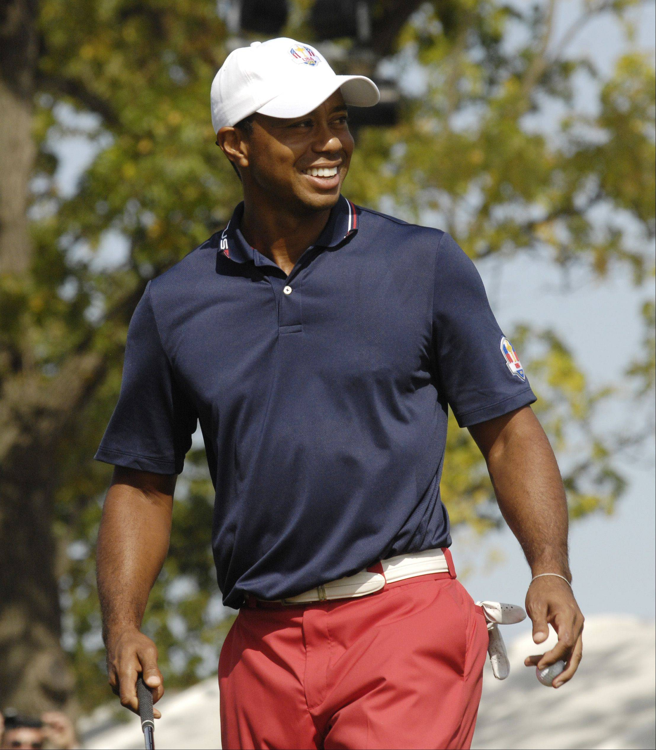 Tiger Woods practices on Wednesday.