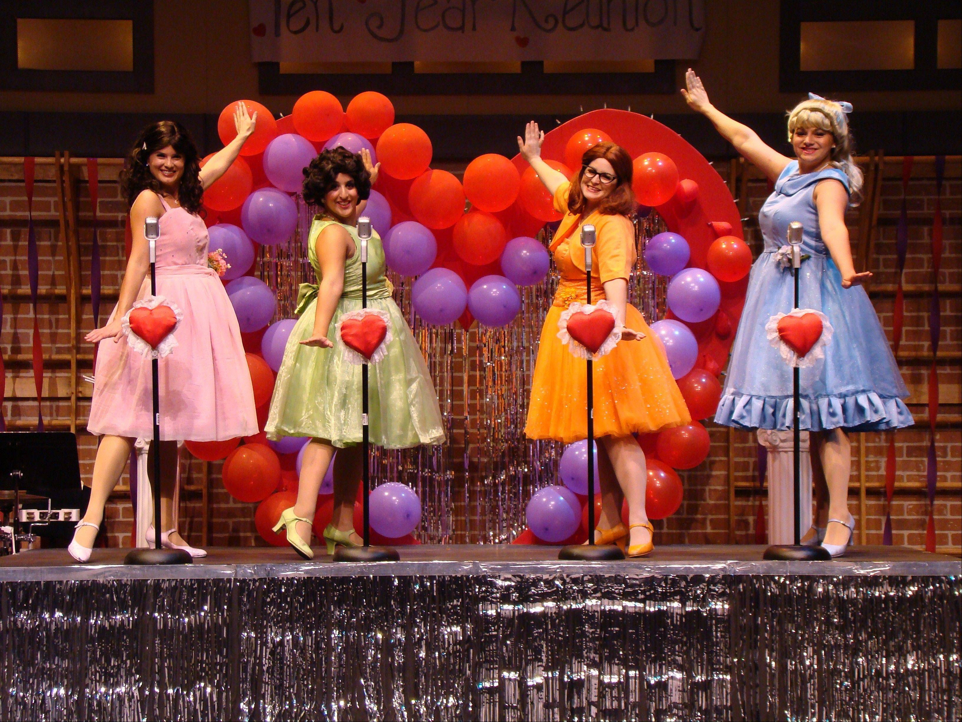 "Cindy Lou (Katie Siri), Betty Jean (Amy Malouf), Missy (Kristine Burdi) and Suzy (Ashley Wolfe) perform at Springfield High School's 1958 senior prom as ""The Marvelous Wonderettes,"" now being presented by the Metropolis Performing Arts Centre in Arlington Heights."