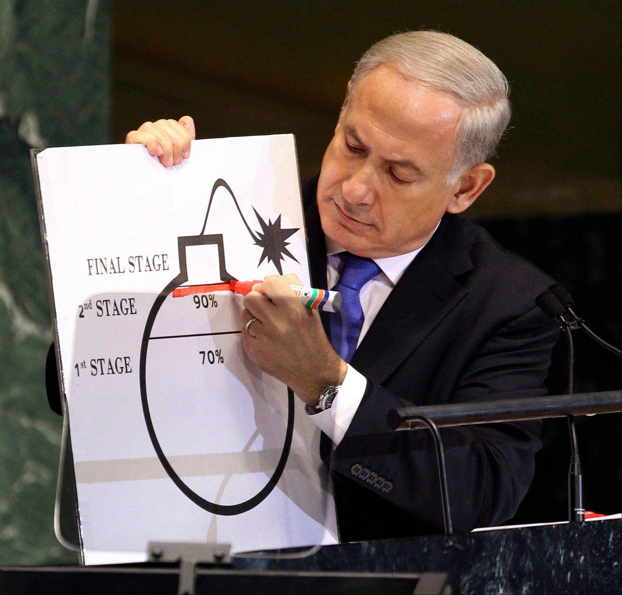 Prime Minister Benjamin Netanyahu of Israel shows an illustration Thursday as he describes his concerns over Iran's nuclear ambitions during his address to the 67th session of the United Nations General Assembly at U.N. headquarters.
