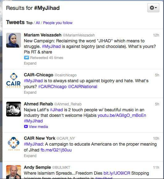 "This screen shot of the ""#MyJihad"" Twitter feed shows people tweeting positive messages about what the word jihad means to Muslims."