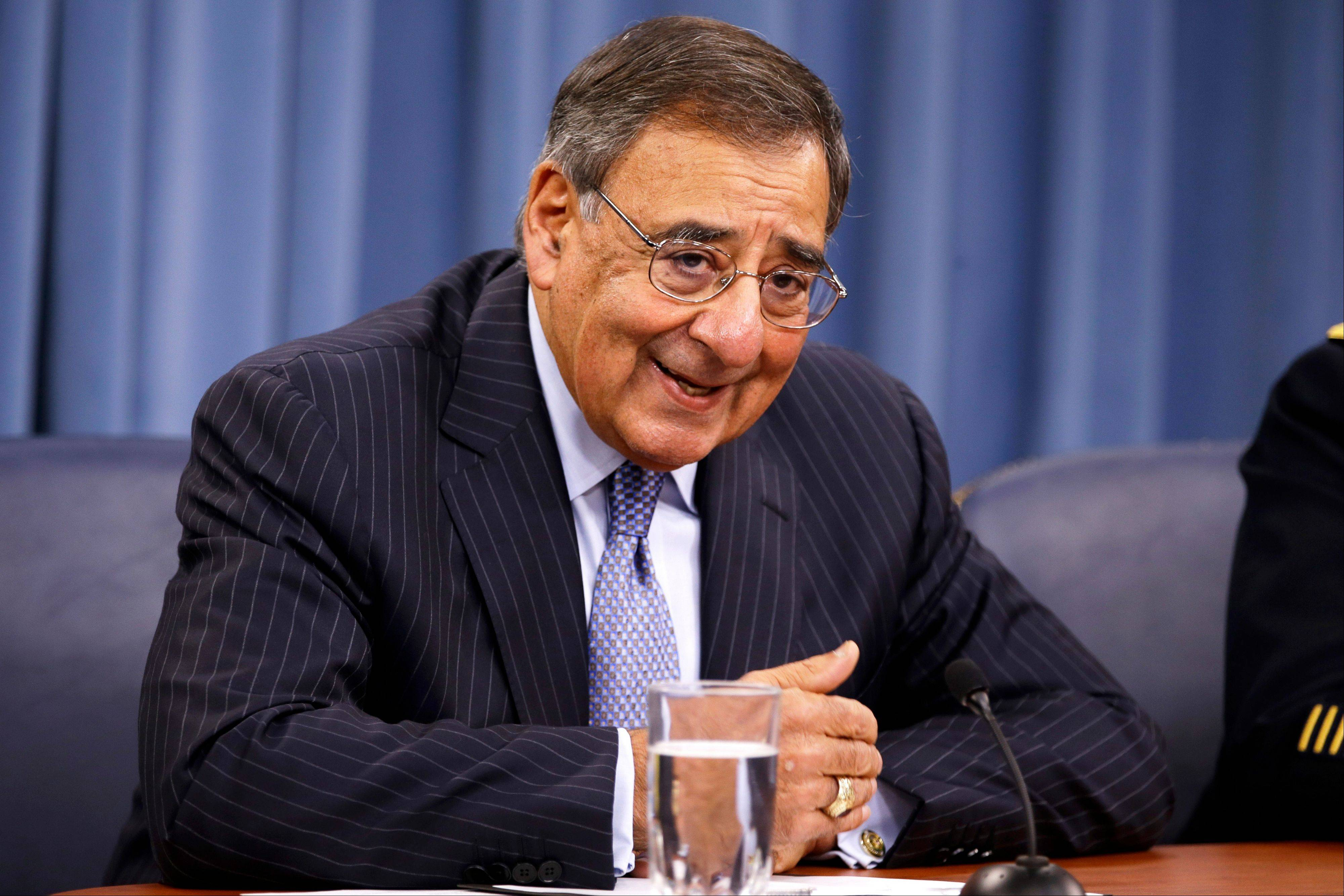 Defense Secretary Leon Panetta speaks at a news conference at the Pentagon on Thursday.