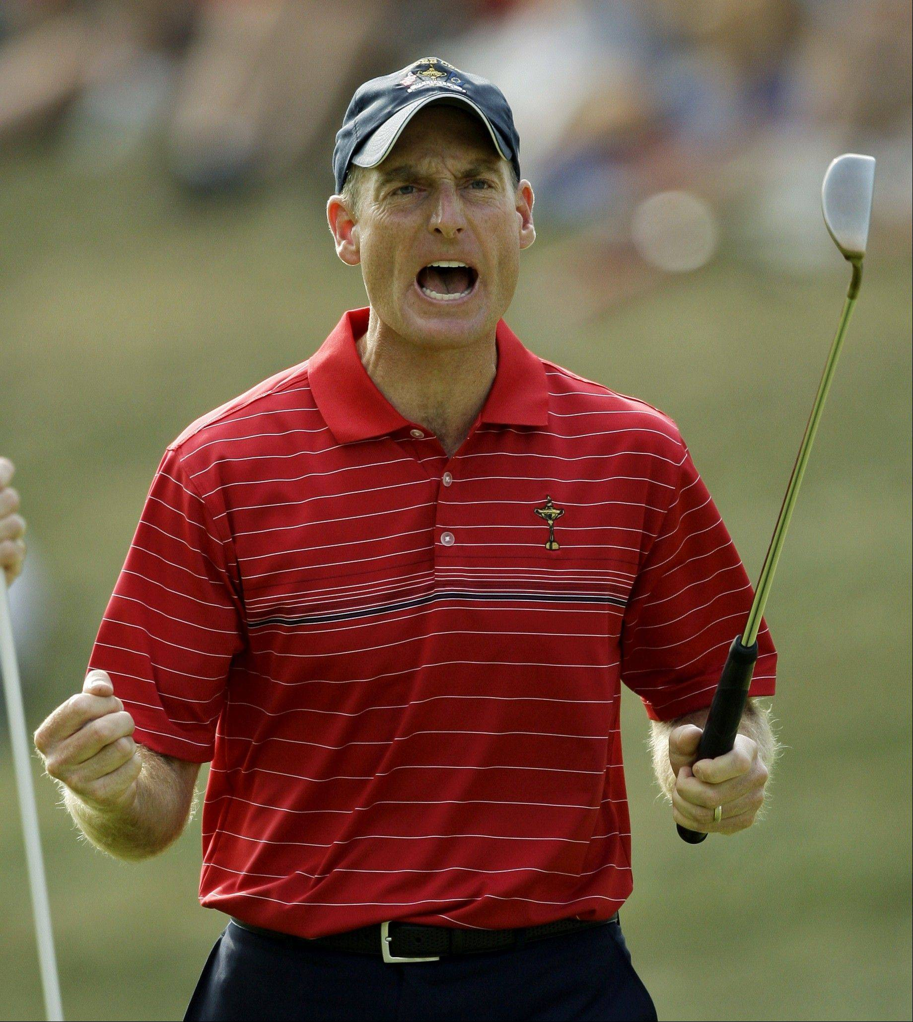Jim Furyk celebrates after sinking a putt in the final round of the 2008 Ryder Cup at Valhalla Golf Club in Louisville. That was the last victory for the U.S. team.