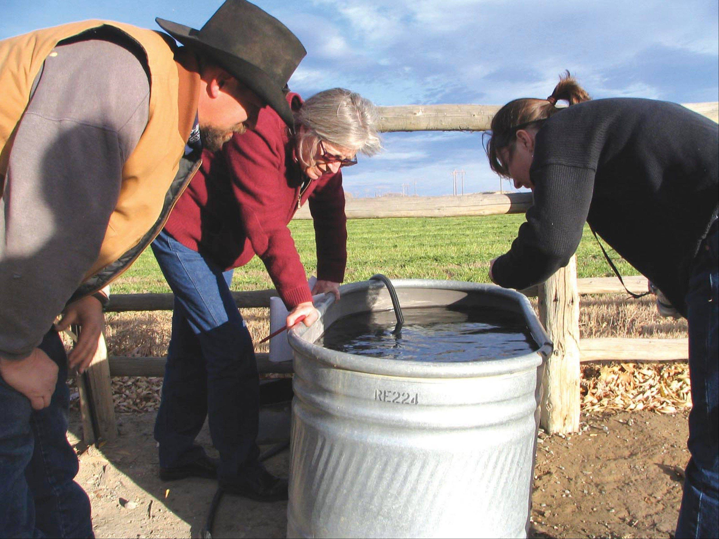 In this 2007 photo, John Fenton and others examine neighbor Louis Meeks' water in Pavillion, Wyo., where federal officials indicated people shouldn't drink water from 40 wells in and around this central Wyoming farming and ranching community. The U.S. Geological Survey on Wednesday released tables showing the amounts of dozens of various chemicals in the groundwater below the Pavillion area of west-central Wyoming.