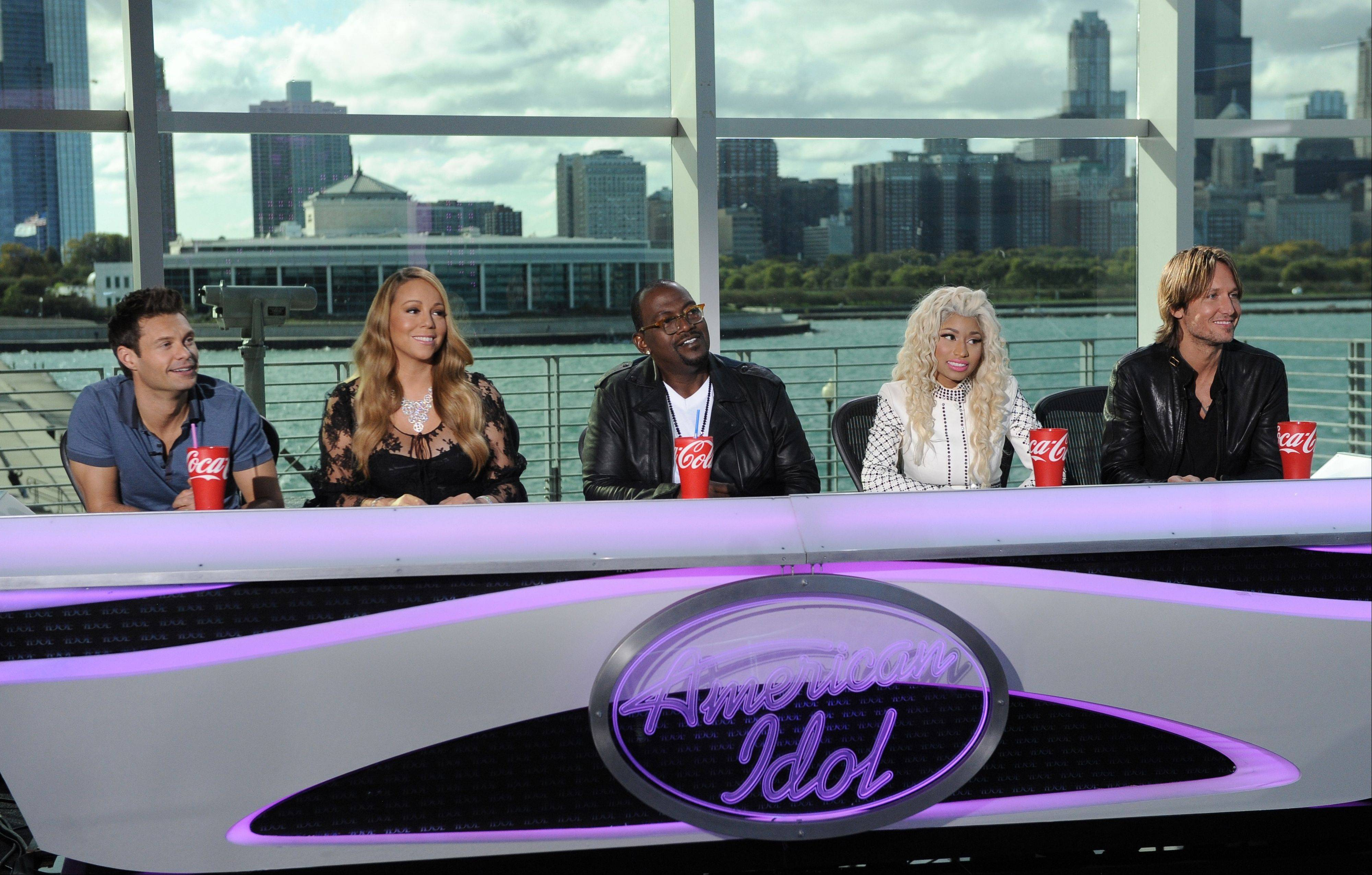 "The ""Idol"" cast, from left, Ryan Seacrest, Mariah Carey, Randy Jackson, Nicki Minaj and Keith Urban were in Chicago Wednesday evaluating local talent."