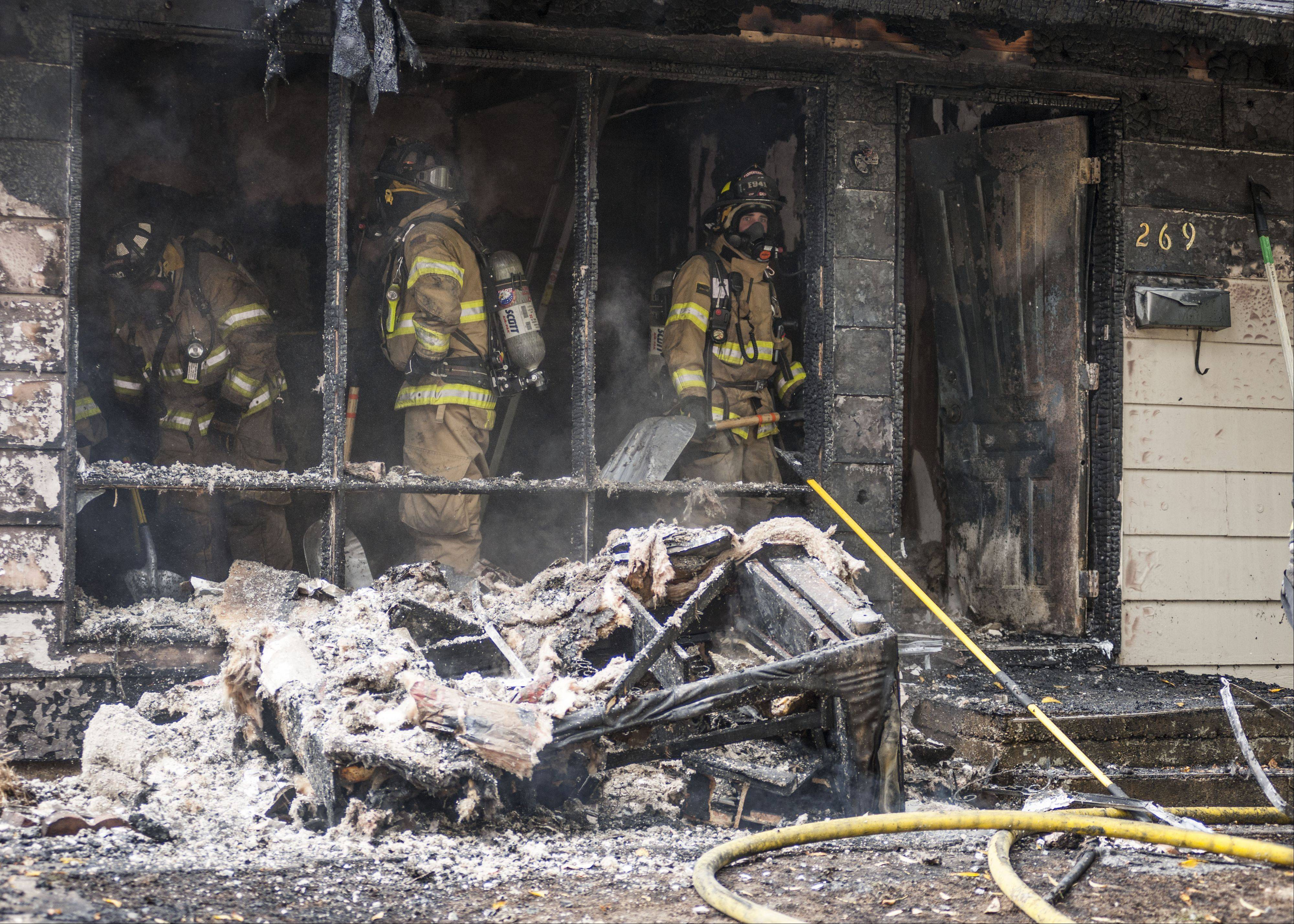 A woman and her 4-year-old nephew suffered minor injuries in a Thursday morning fire in Carpentersville.