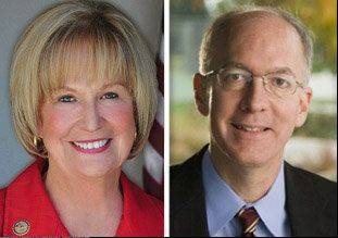 Republican Judy Biggert opposes Democrat Bill Foster in the 11th Congressional District race.