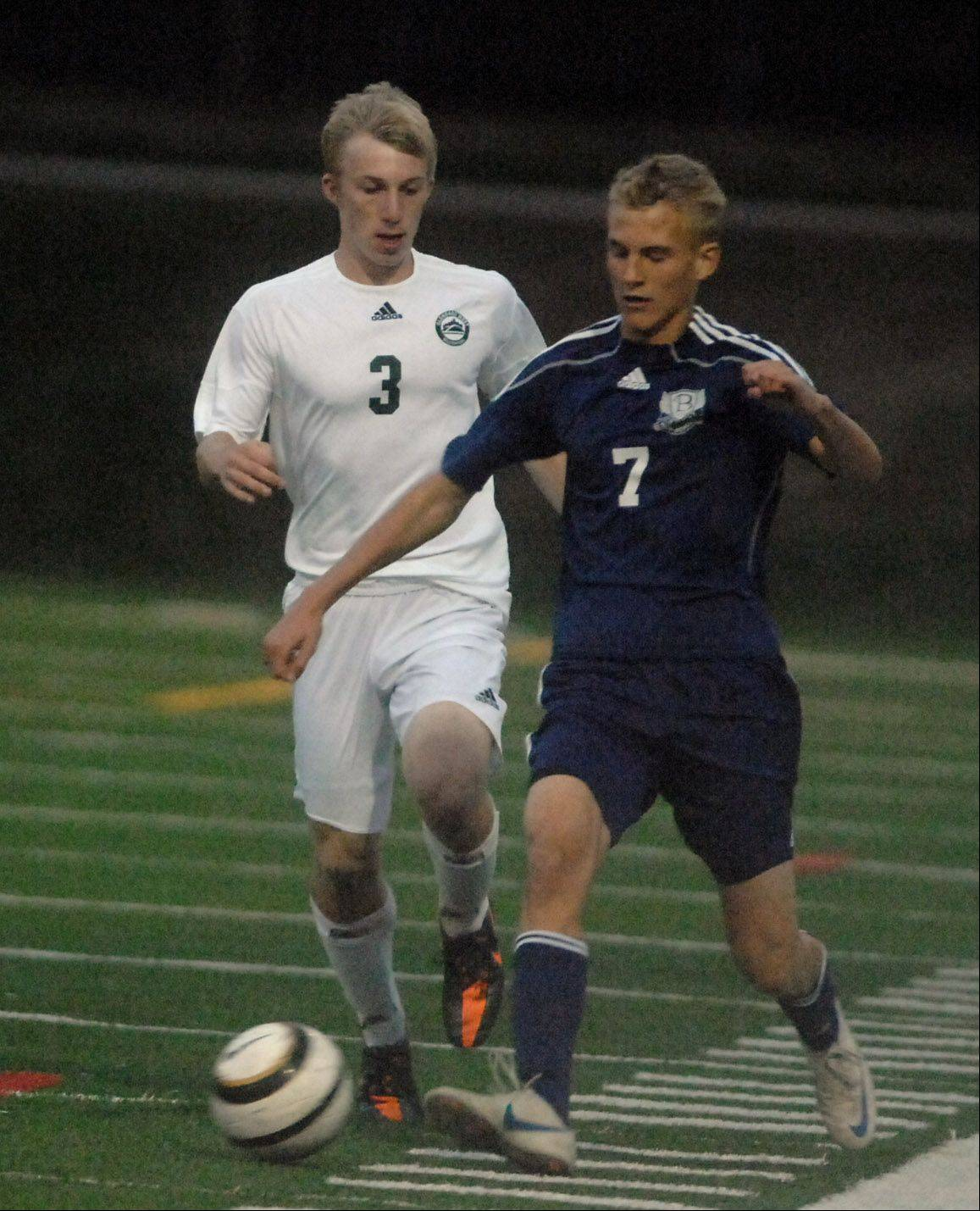 Nathan Hall,left, of Glenbrad West and Mike Parzy of Bartlett move the ball during the bartlett at Glenbard West boys soccer game Thursday.