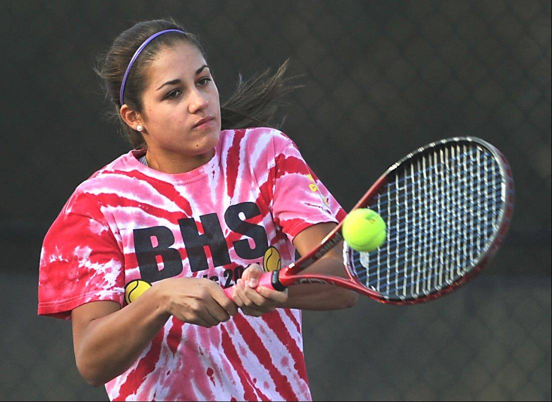 Batavia's Miranda Grizaffi plays a backhand against St. Charles East's Sarah Church in #1 Singles Thursday in St. Charles.