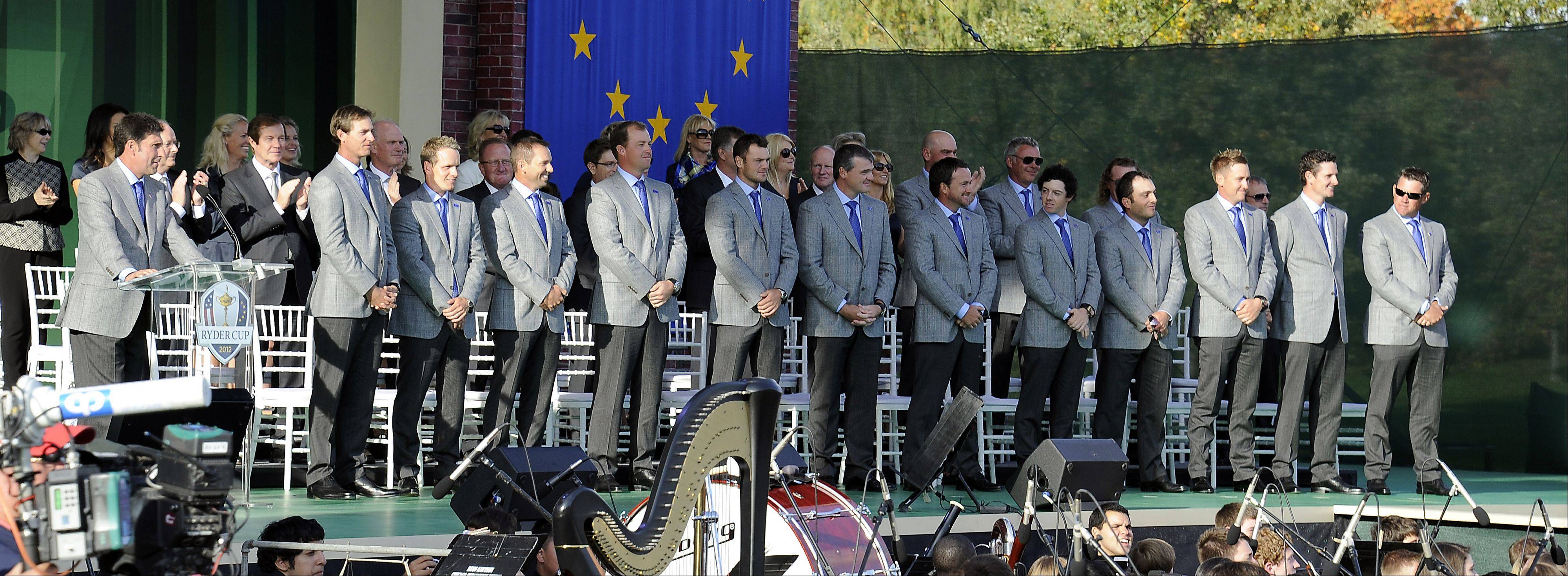 Team Europe's Jose Maria Olazabal speaks.