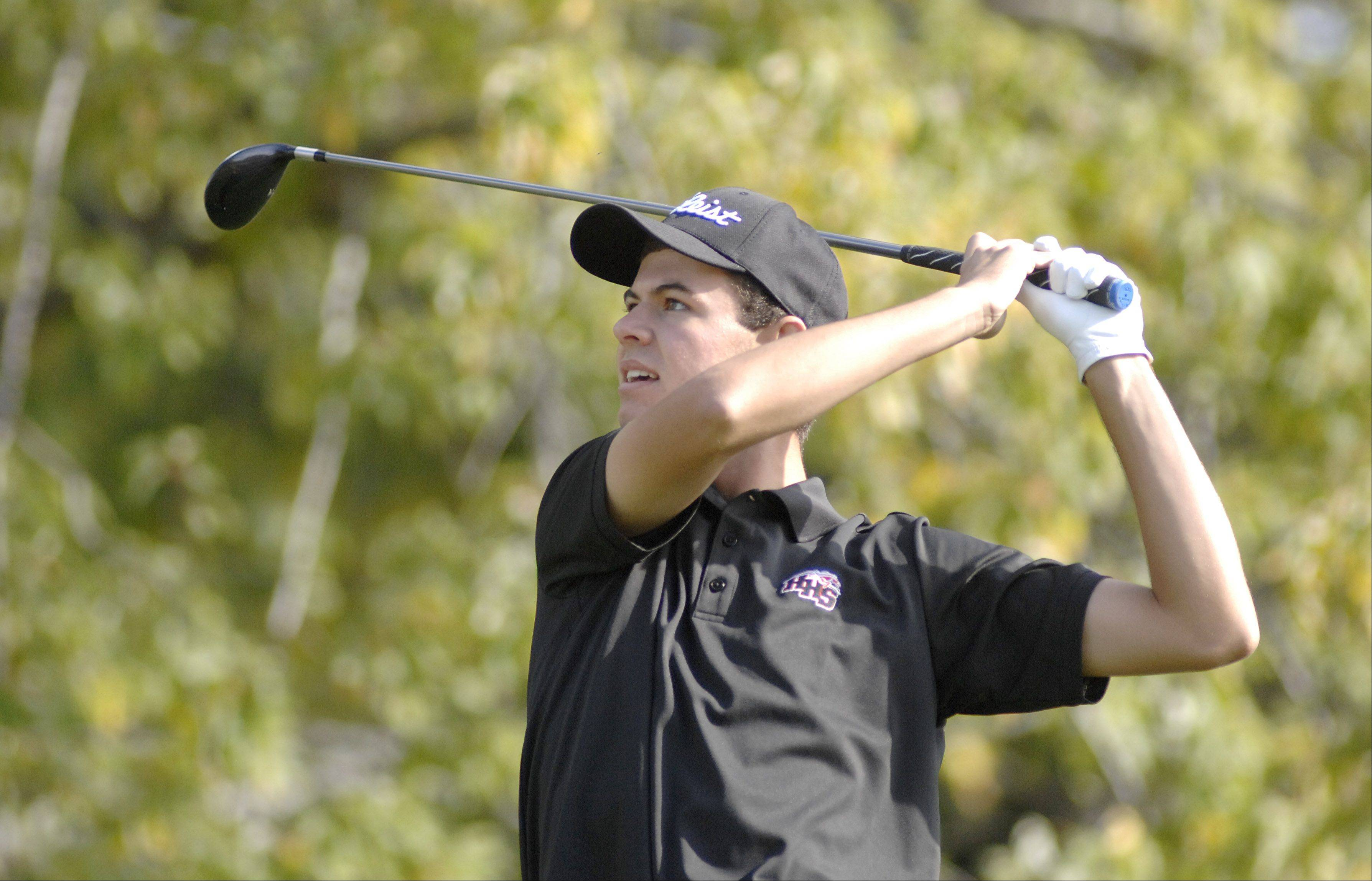 Huntley's Ryan Craig tees off at the sixth hole in the Fox Valley Conference tournament at Crystal Woods Golf Course in Woodstock on Thursday.