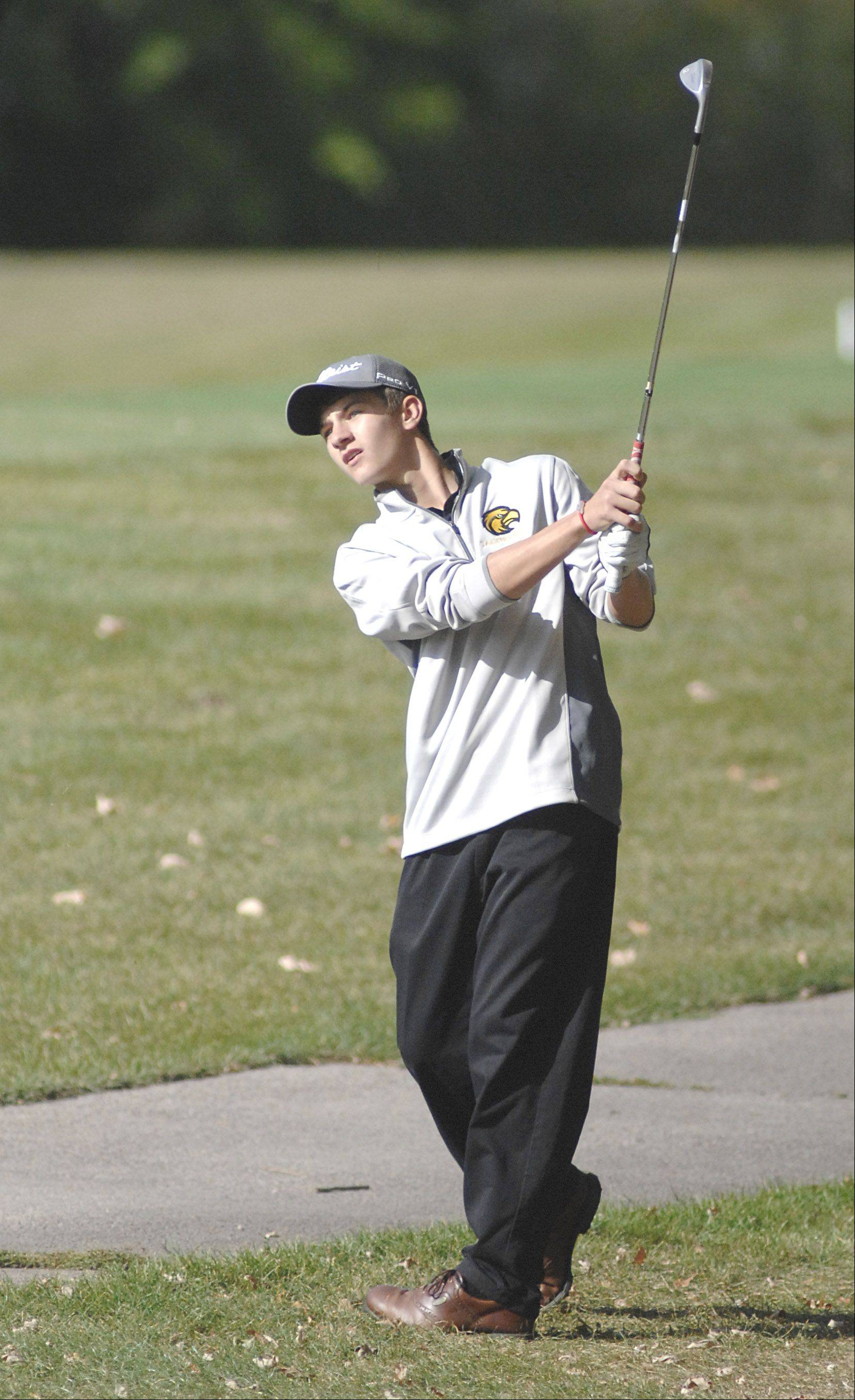 Jacobs' Chris Boyle on the fifth hole in the Fox Valley Conference tournament at Crystal Woods Golf Course in Woodstock on Thursday, September 27.