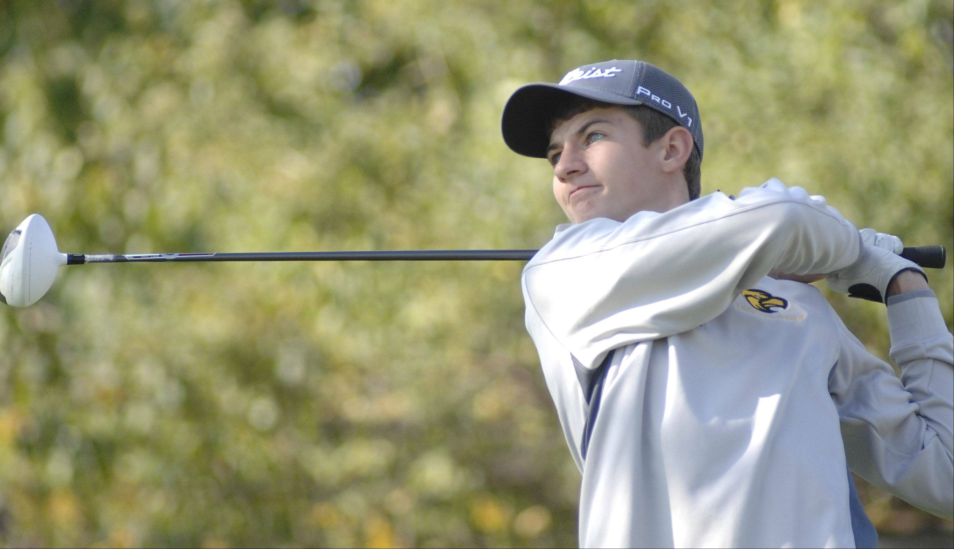 Jacobs' Chris Boyle tees off at hole 5 in the Fox Valley Conference tournament at Crystal Woods Golf Course in Woodstock on Thursday, September 27.