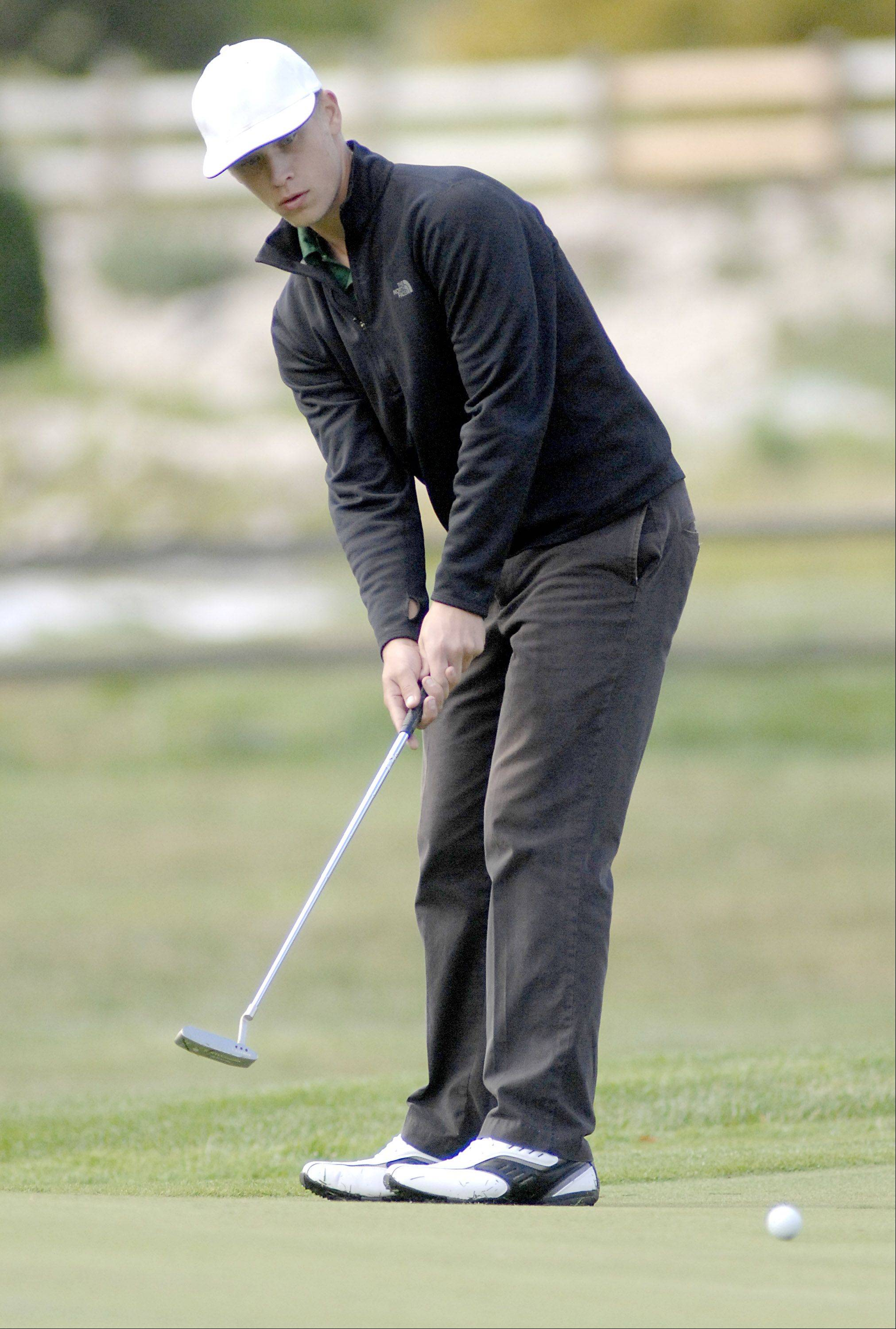 Grayslake Central's Kyle Balling on the sixth green in the Fox Valley Conference tournament at Crystal Woods Golf Course in Woodstock on Thursday, September 27.