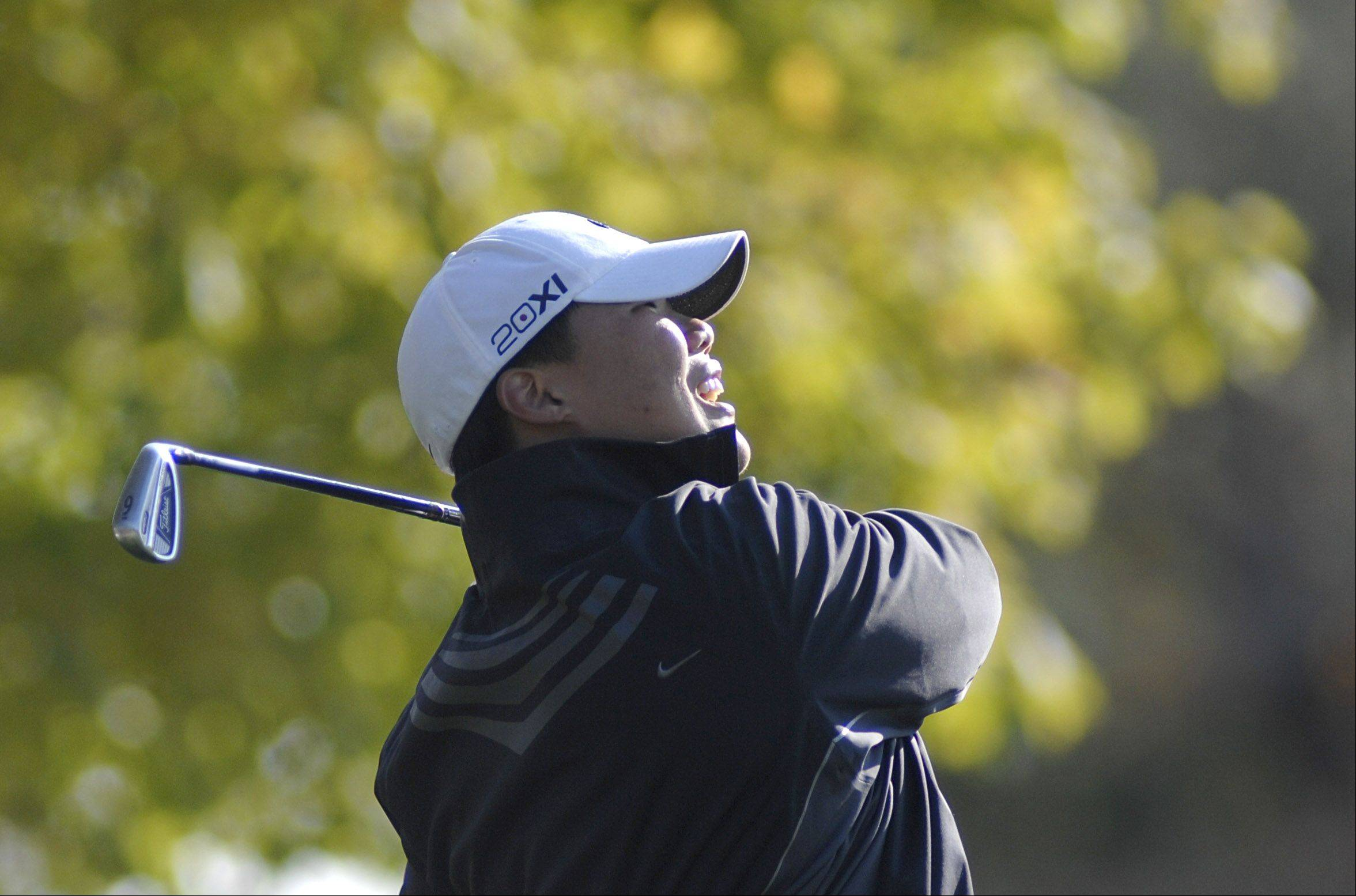 Grayslake Central's Dan Choi tees off at hole four in the Fox Valley Conference tournament at Crystal Woods Golf Course in Woodstock on Thursday, September 27.
