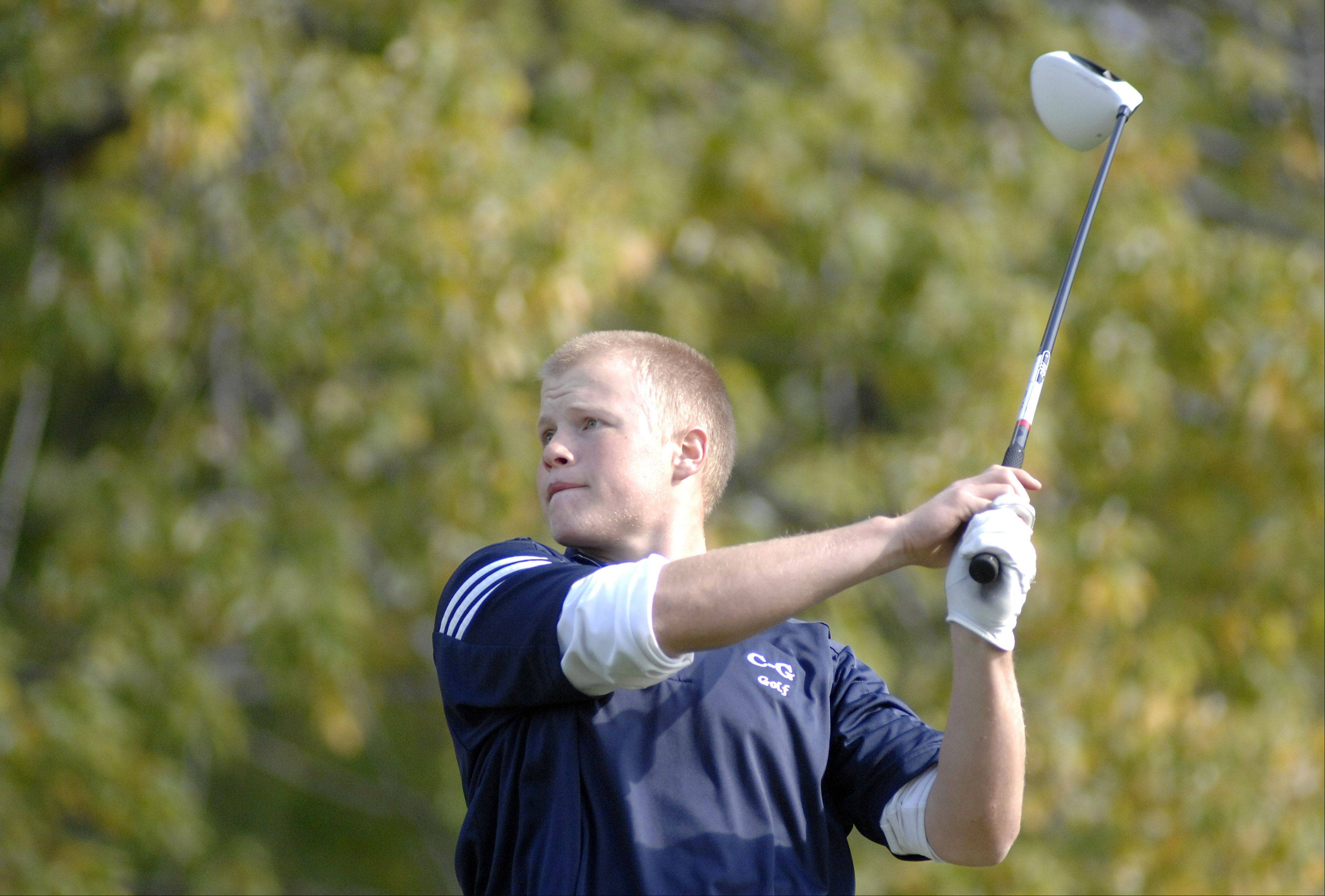 Cary Grove's Jarrett Kinney tees off at the fifth hole in the Fox Valley Conference tournament at Crystal Woods Golf Course in Woodstock on Thursday, September 27.