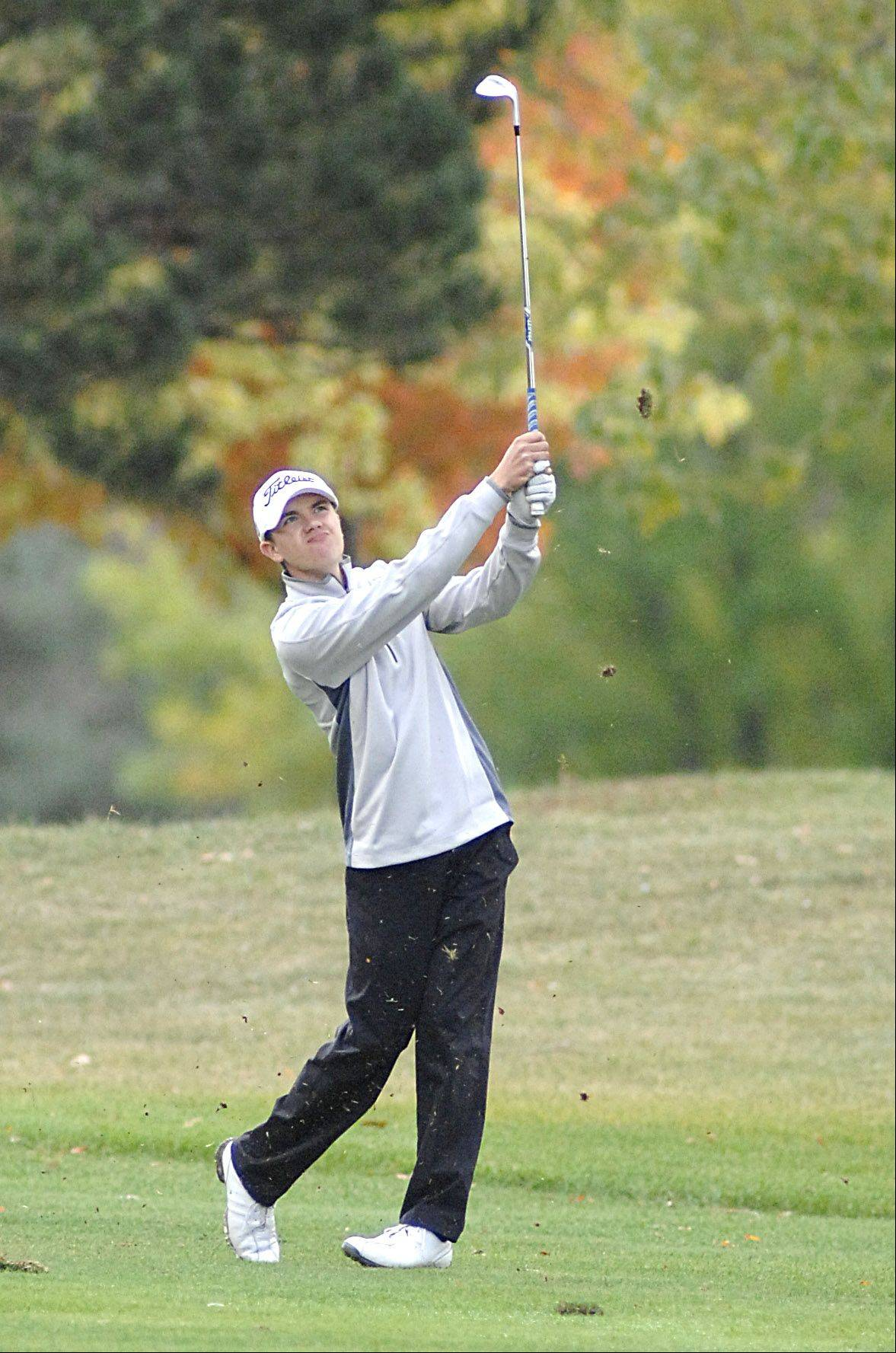 Jacobs' Sean Kozak on the sixth hole in the Fox Valley Conference tournament at Crystal Woods Golf Course in Woodstock on Thursday, September 27.