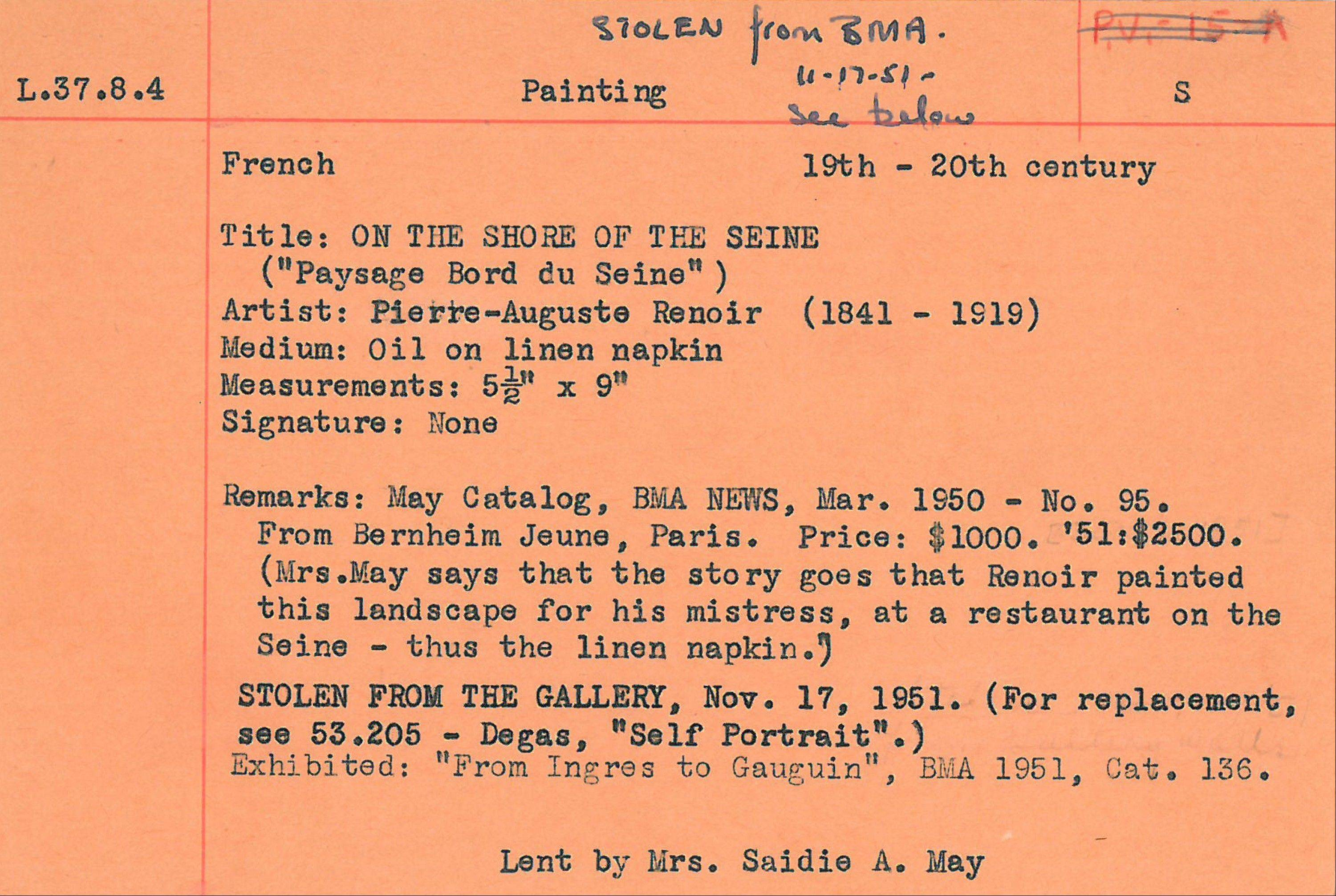 This undated handout image provided by the Baltimore Museum of Art (BMA) shows an orange card, the only record the museum has that a Renior painting was stolen from the BMA, Nov. 17, 1951.