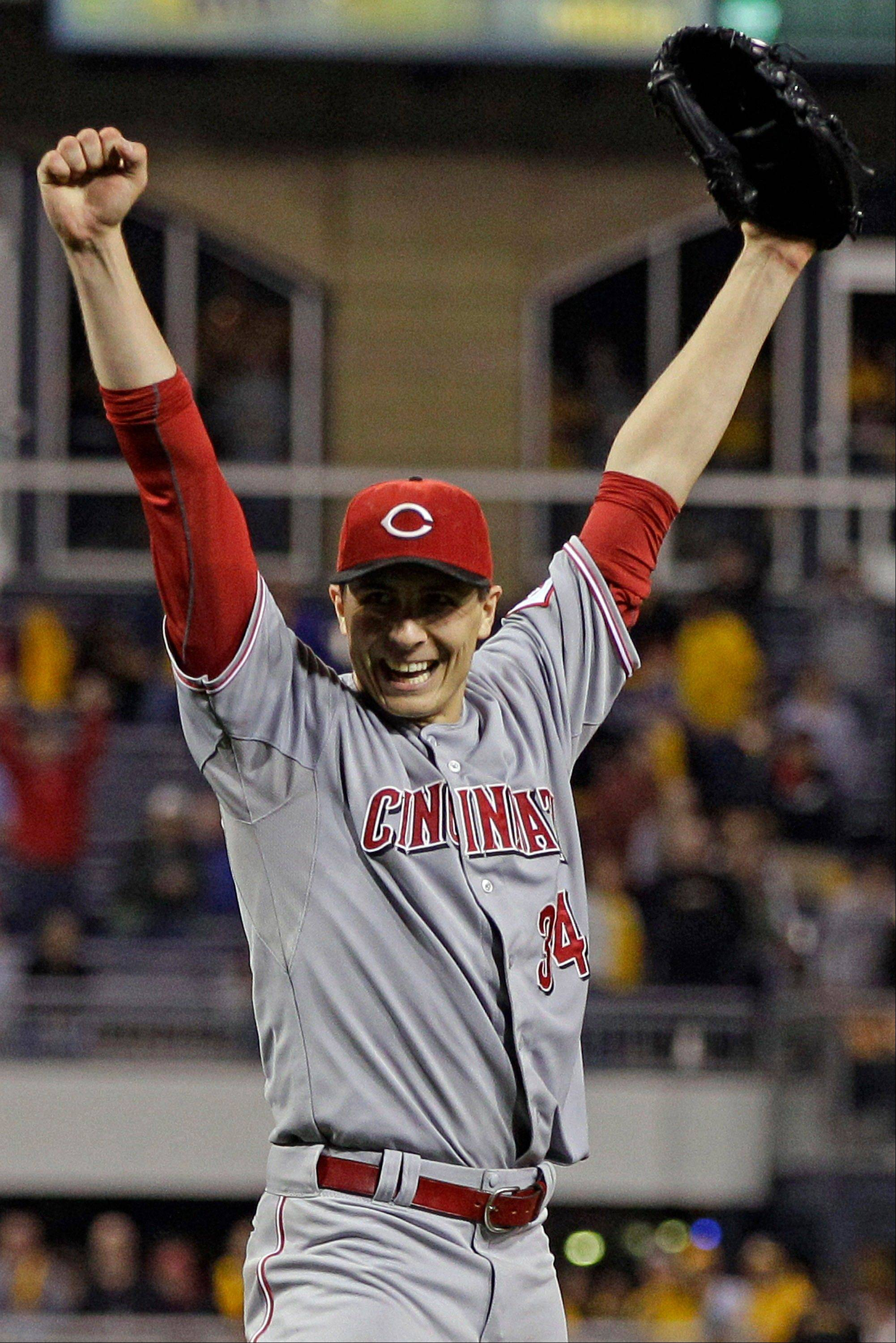Cincinnati Reds starting pitcher Homer Bailey celebrates getting the final out of a no-hitter Friday in Pittsburgh.