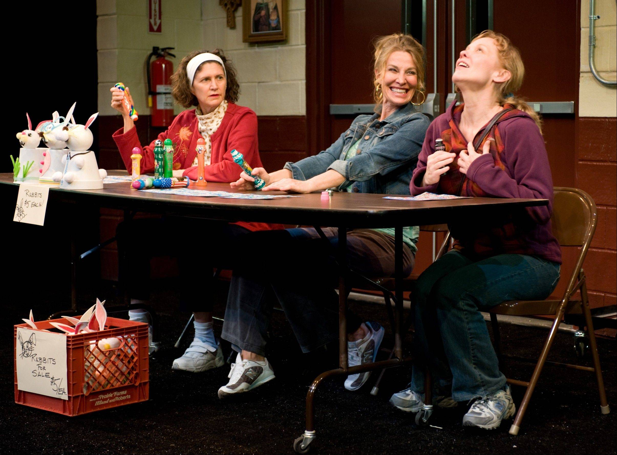 "Newly unemployed Margy (Mariann Mayberry, right) joins friends Jean (Lusia Strus, center) and Dottie (Molly Regan) at Bingo, hoping to win enough to buy a new dress in Steppenwolf Theatre's ""Good People,"" directed by K. Todd Freeman."