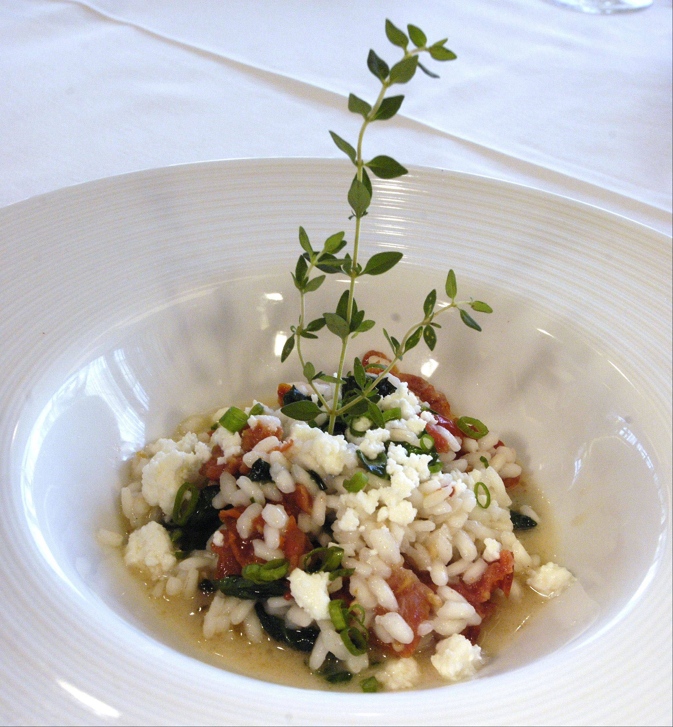 Mushroom-studded risotto is a bright spot on Waterleaf's menu.