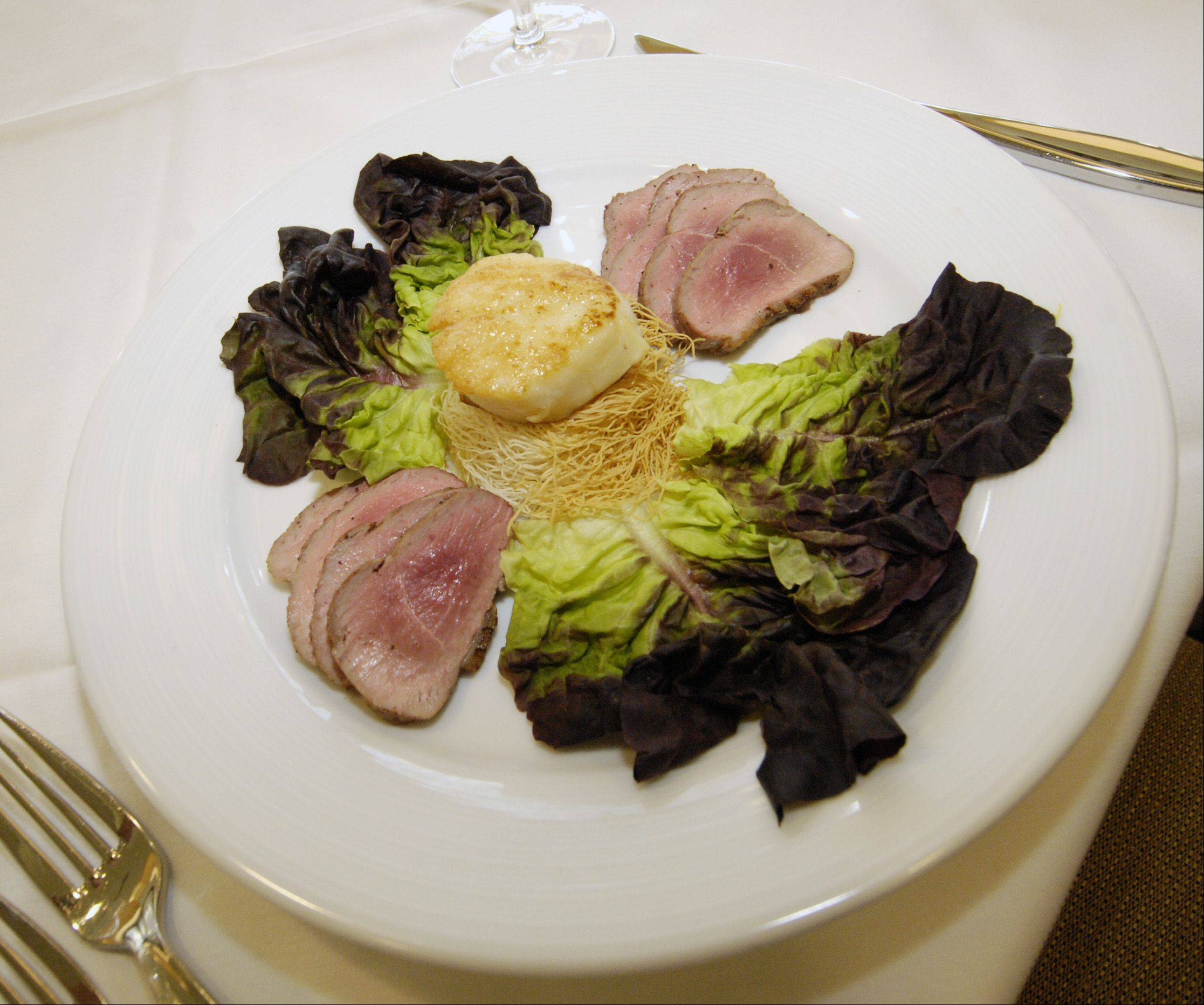 Duck and scallop combine for a pleasing salad at Waterleaf restaurant at the College of DuPage culinary center.