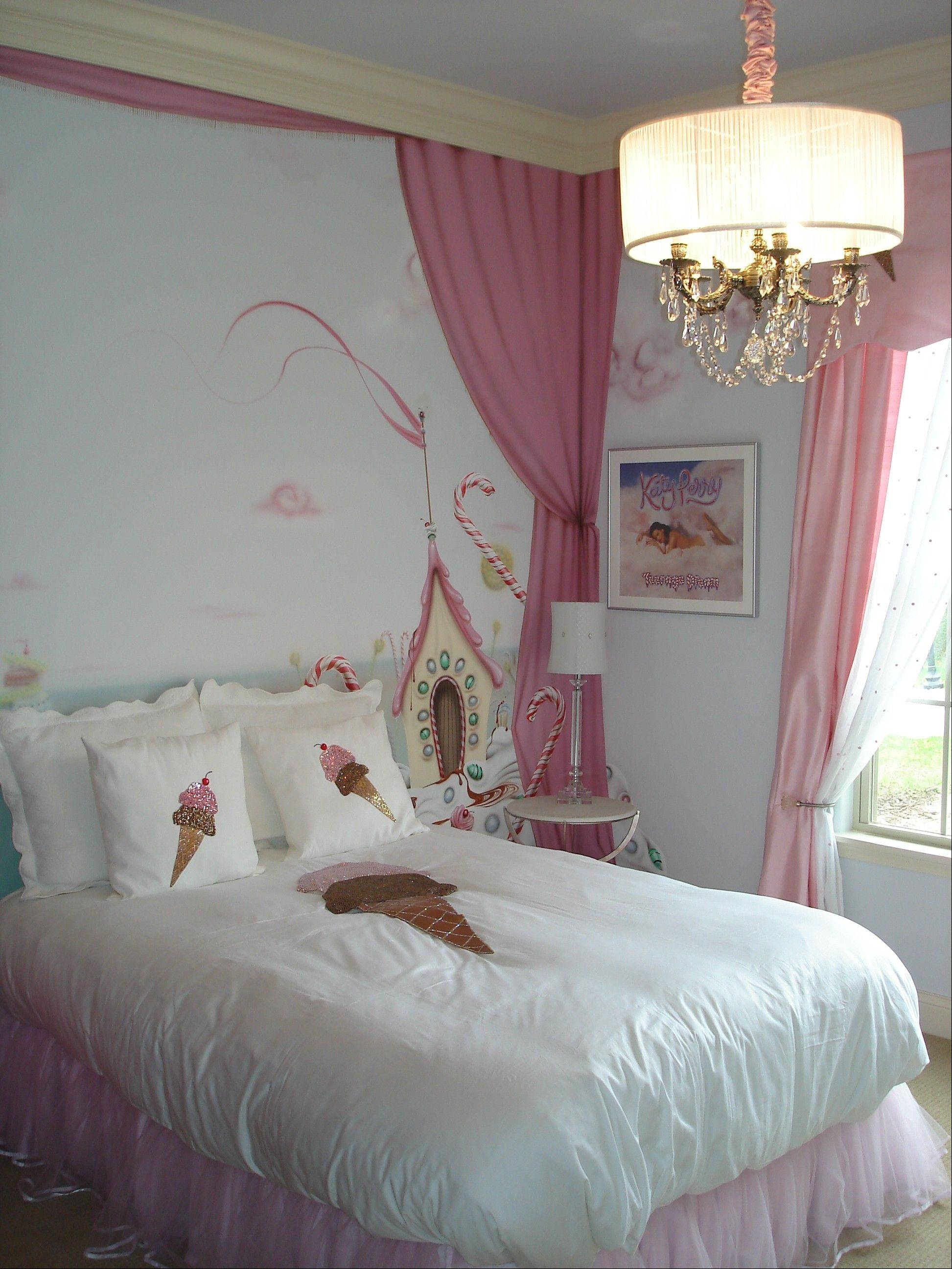 "Designers say bold colors are popular in home decor. This ""teenage dream"" themed room in the Sonoma model at Thousand Oaks in Spring Grove was done in pink and white."