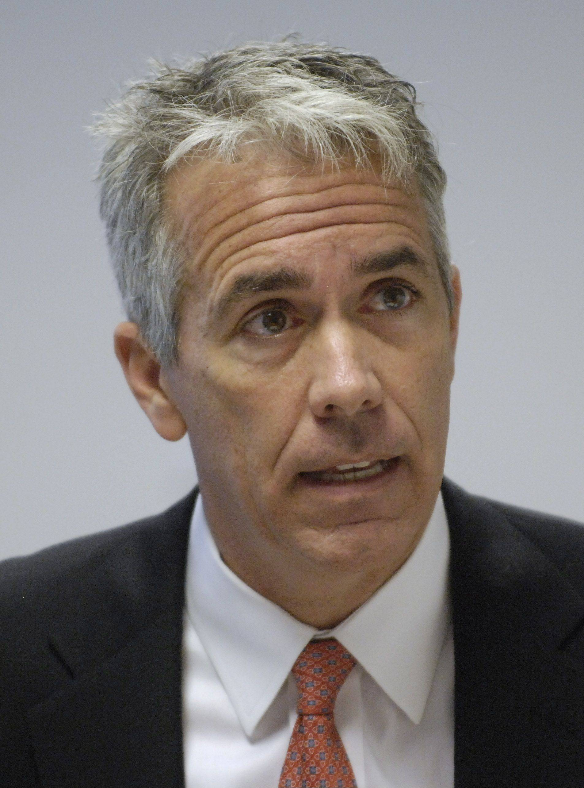 JOE LEWNARD/jlewnard@dailyherald.comCongressman Joe Walsh, running in the new 8th District, speaks during an endorsement interview with the Daily Herald.