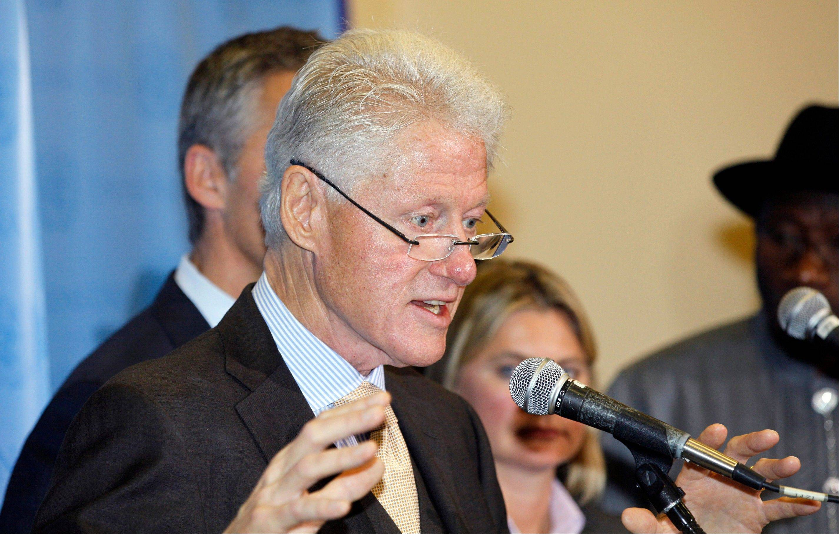 Former President Bill Clinton speaks to reporters Wednesday on the U.N. Commission on Life-Saving Commodities and Contraceptive Implants. Clinton is comfortable in a debate setting, and it helped him in his campaign against President George H. Bush.