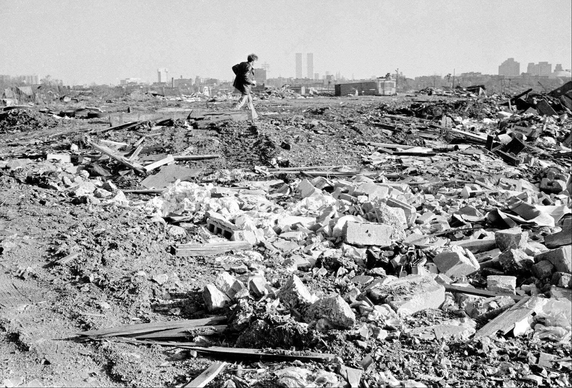 Dec. 5, 1975: A man walks over a rubble field in Jersey City, N.J., one of the locations where authorities searched for the body of missing former Teamster boss Jimmy Hoffa.