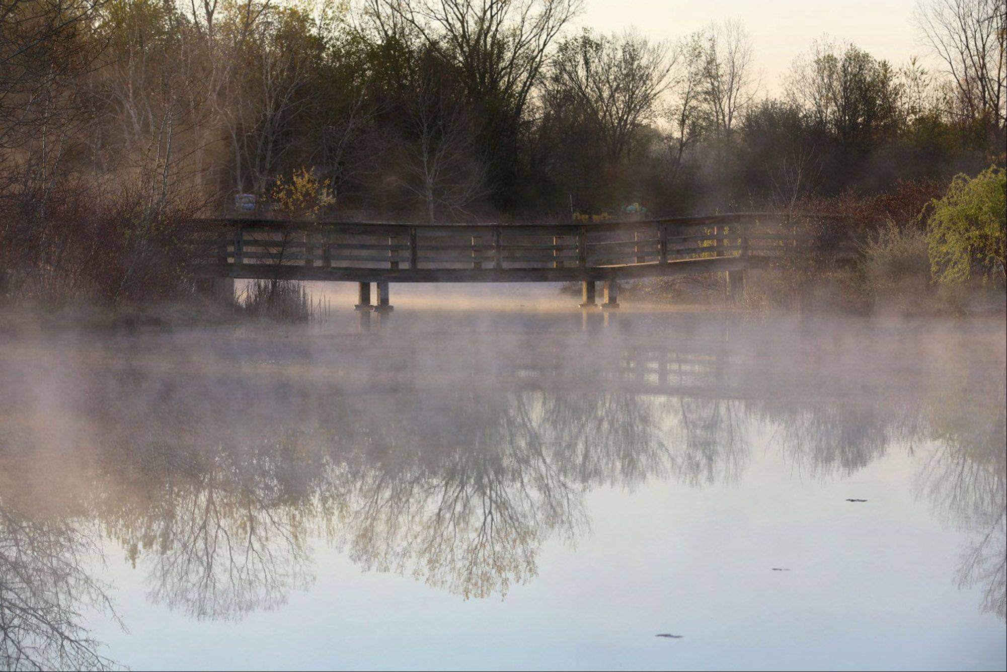 A morning fog hangs over a bridge on a small lake in the Grant Woods Forest Preserve last April.