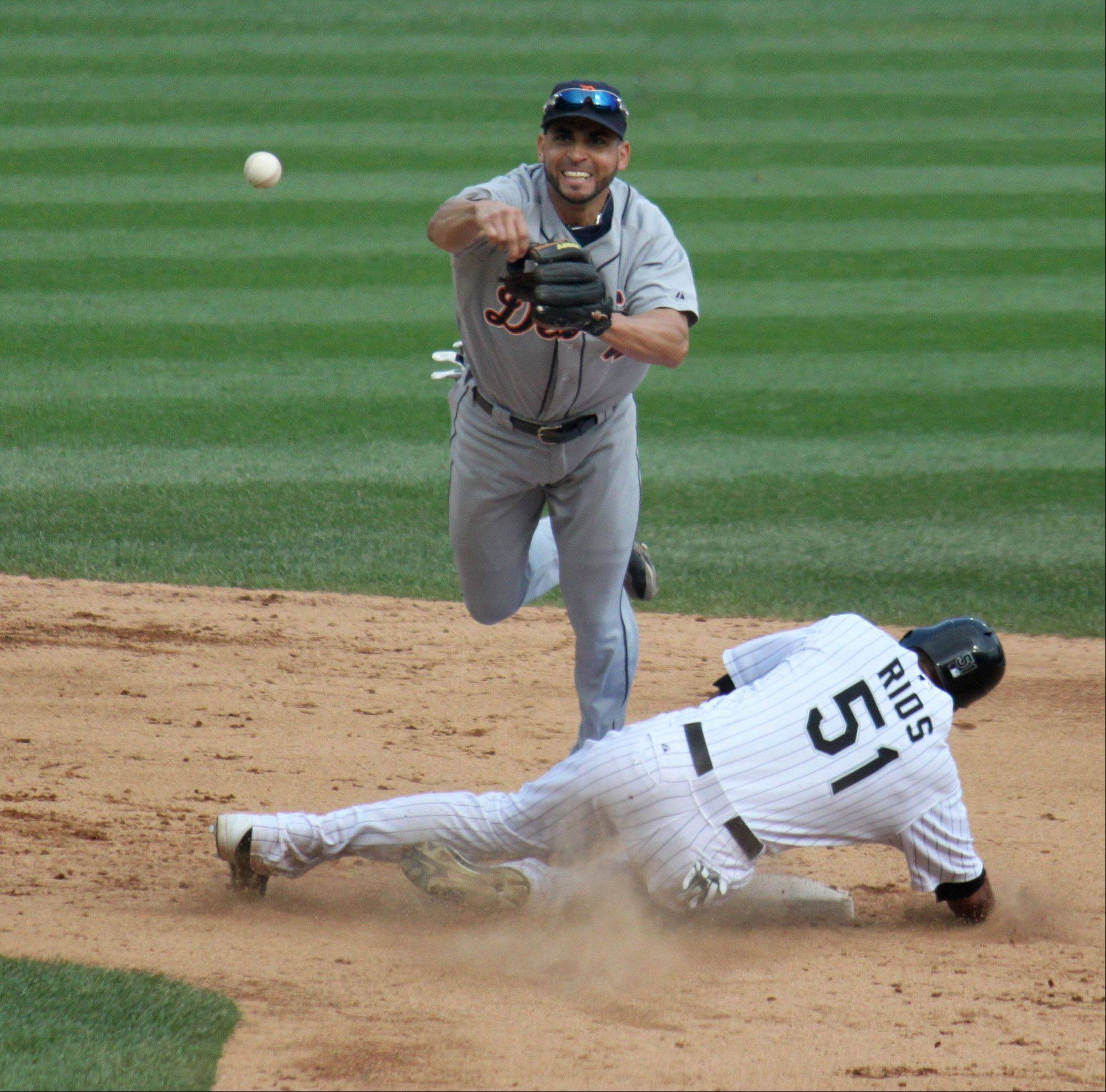 The Detroit Tigers' Omar Infante attempts to complete a double play against the Chicago White Sox on September 17.