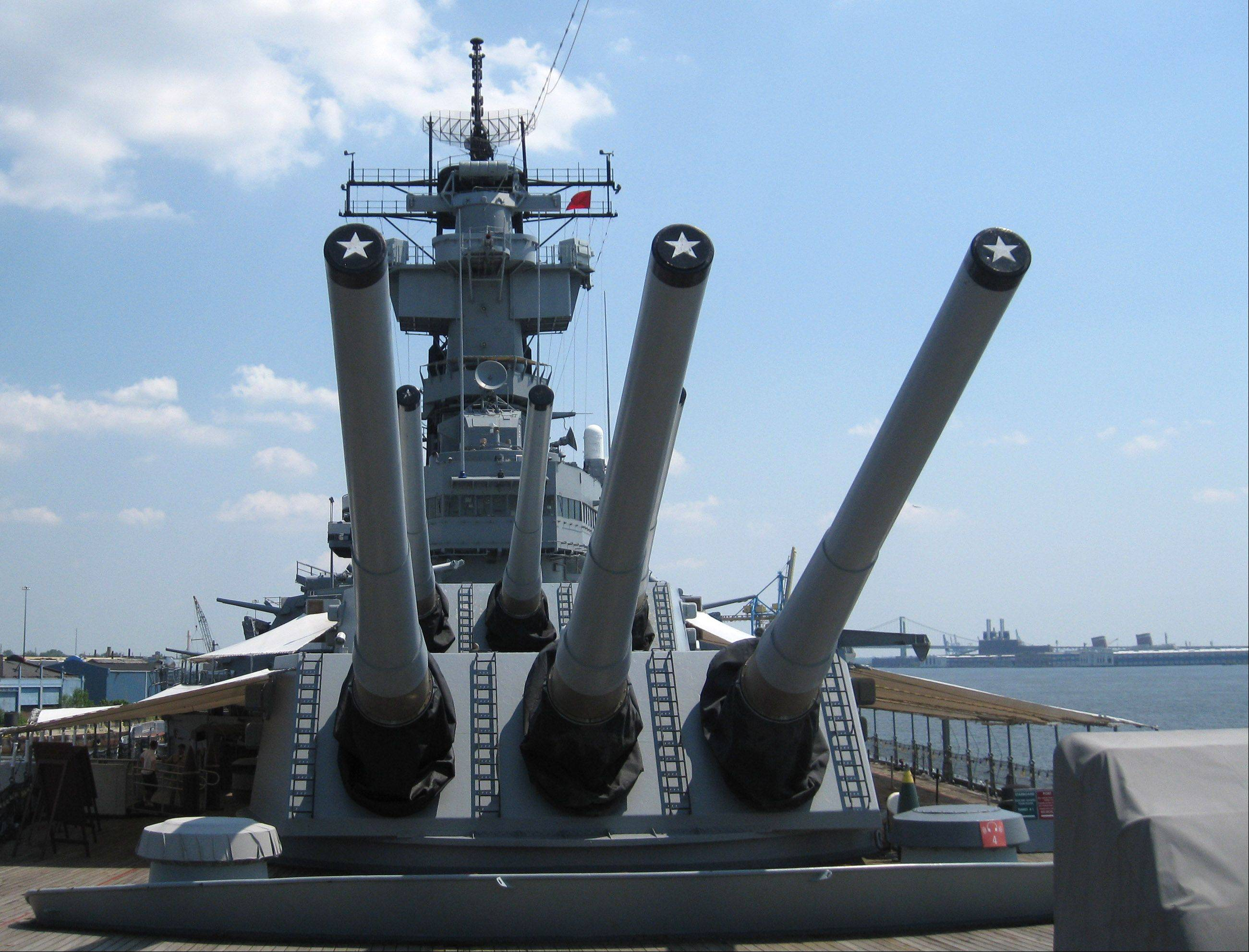 This is the battleship USS New Jersey, which is on display in the Delaware River in Philadelphia.