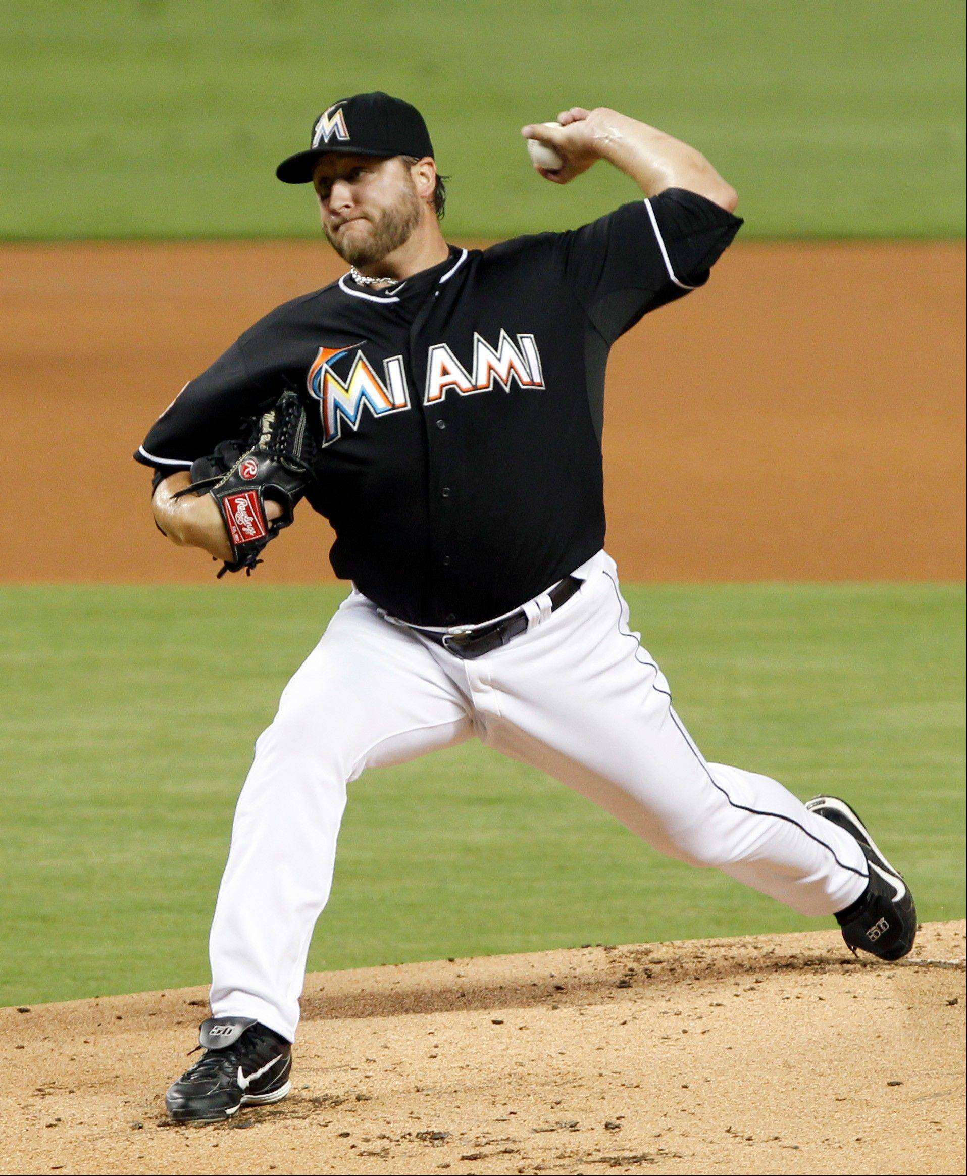 Miami's Mark Buehrle pitched eight innings Friday at home against the Phillies, allowing one run and six hits. He struck out eight as he surpassed the 200-inning mark for the 12th consecutive season.