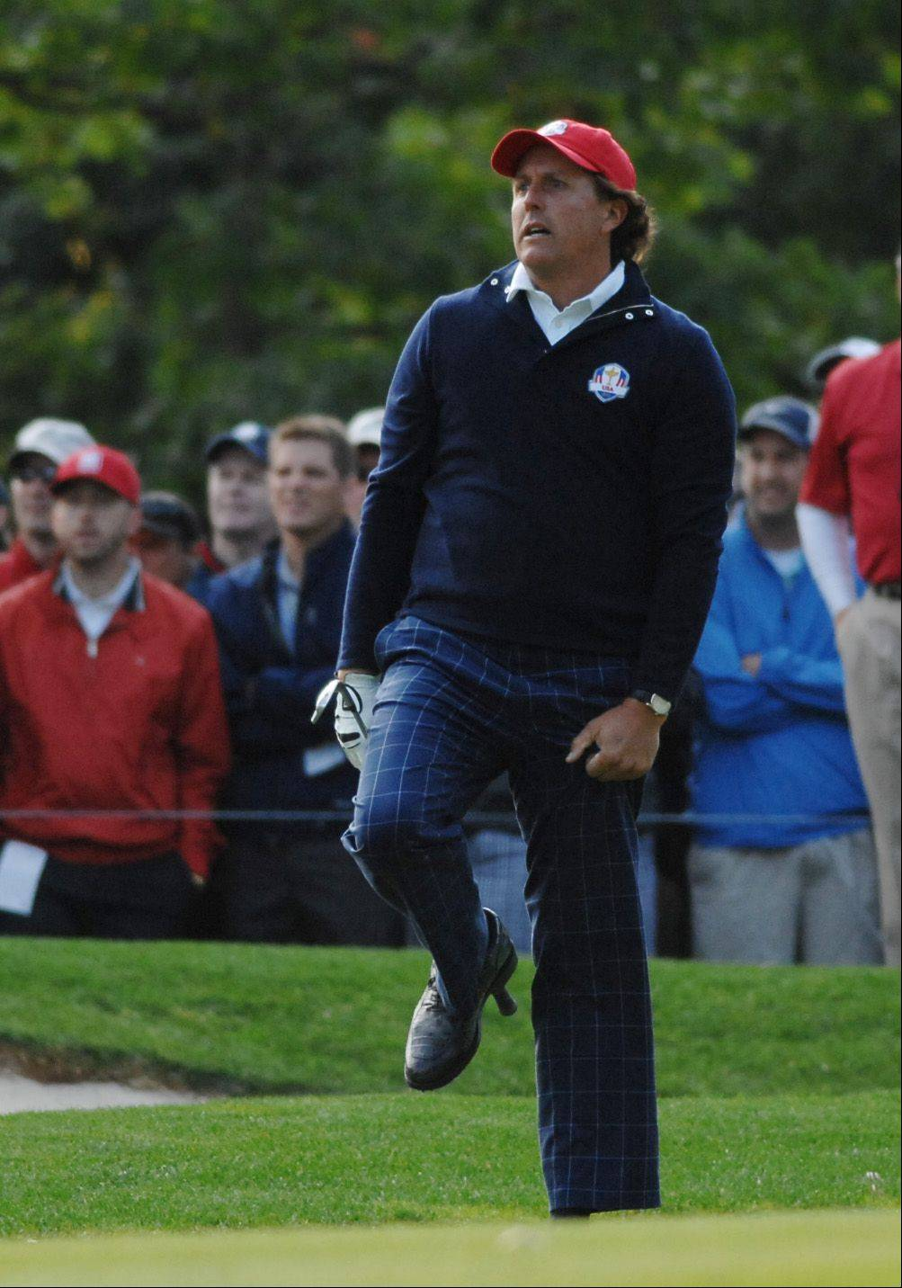John Starks/jstarks@dailyherald.comPhil Mickelson reacts to a shot during foursome play Friday morning.