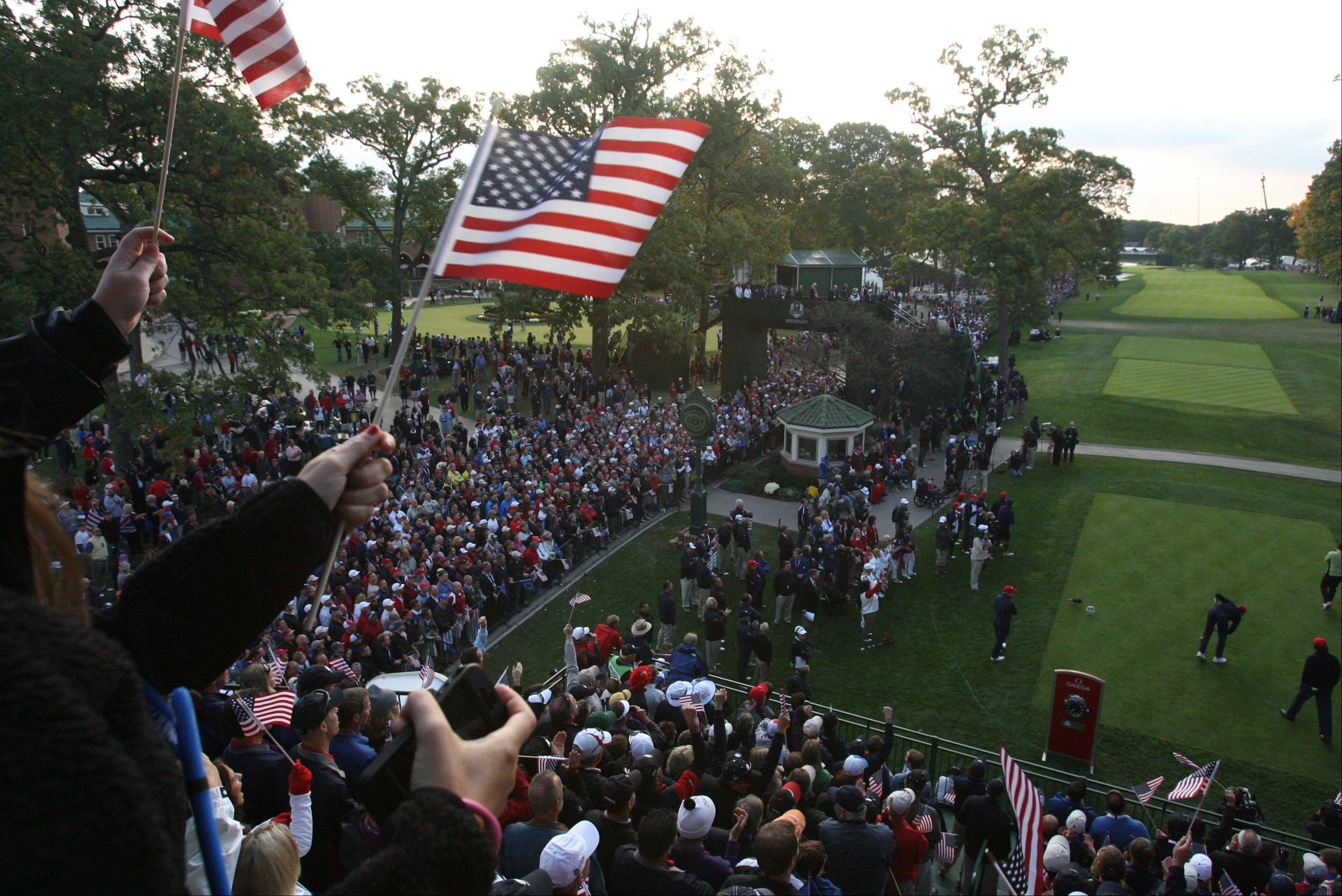 Team USA fans were out in full force on the first tee Friday morning as Ryder Cup competition got under way at Medinah Country Club.