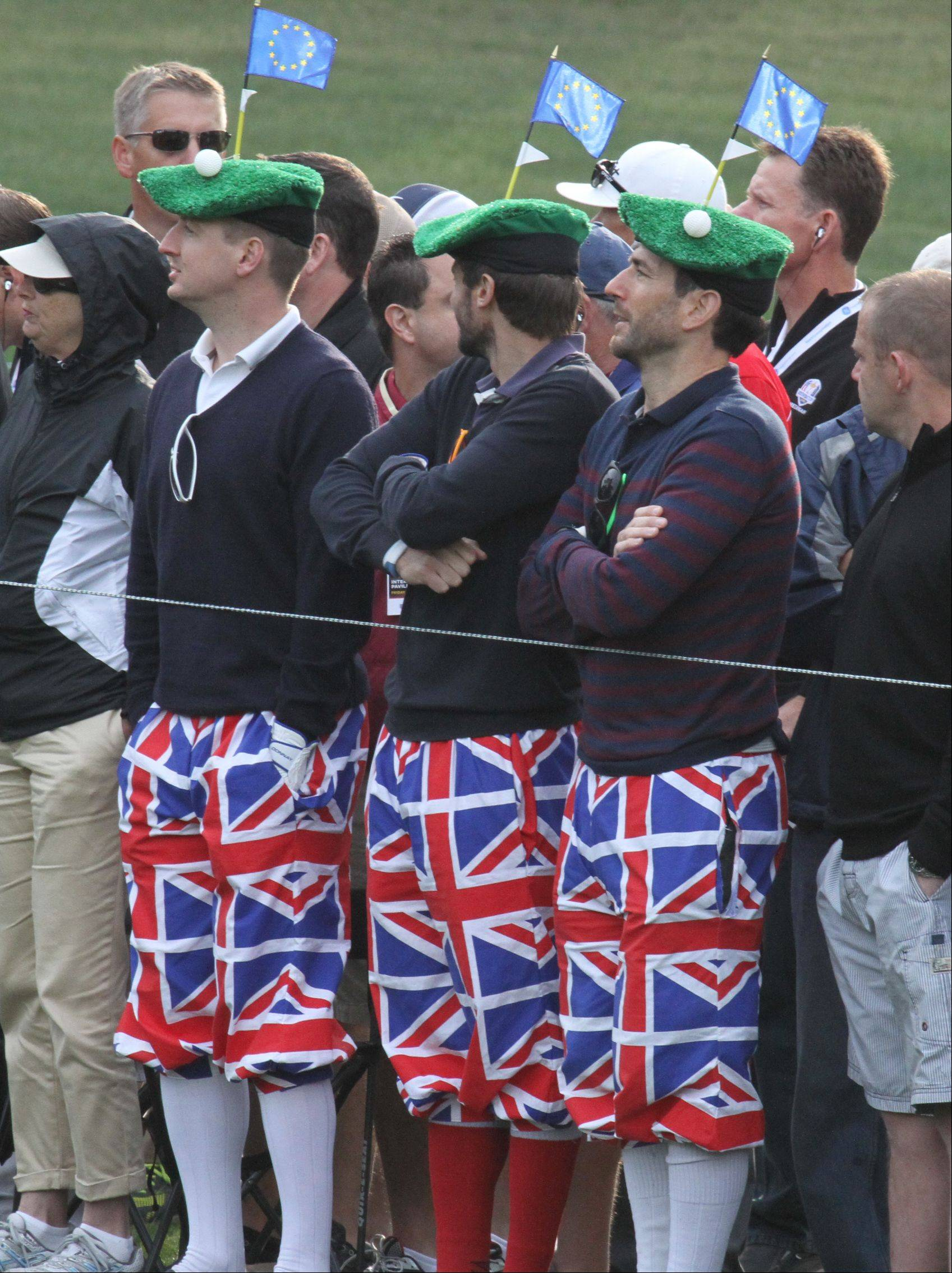 These fans were showing their team Europe pride as they were decked out in their British knickers Friday morning at the Ryder Cup at Medinah Country Club.