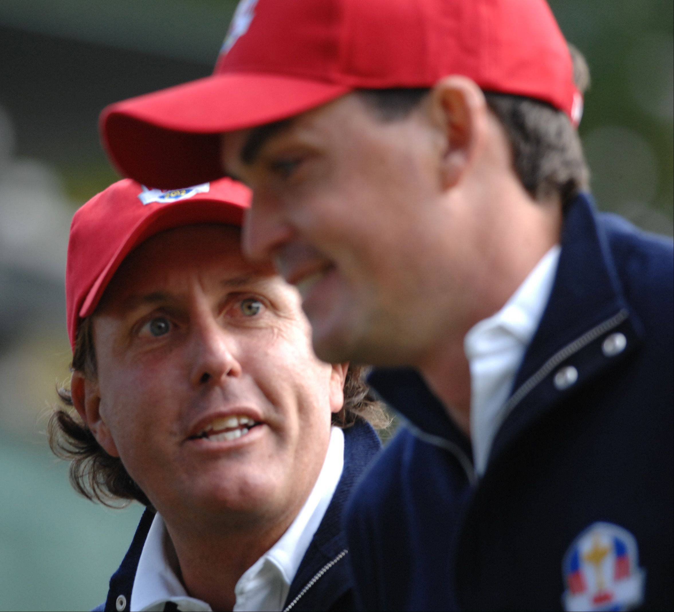 Phil Mickelson and rookie teammate Keegan Bradley made for a great combination Friday morning during the foursome matches.