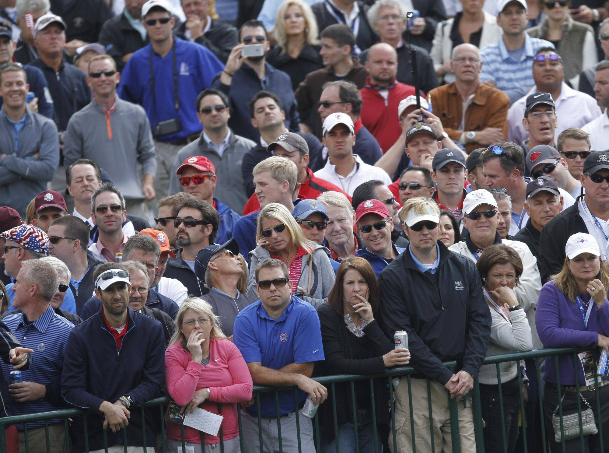 Crowds line the barricades to watch Team USA and Team Europe during the foursome matches Friday morning.