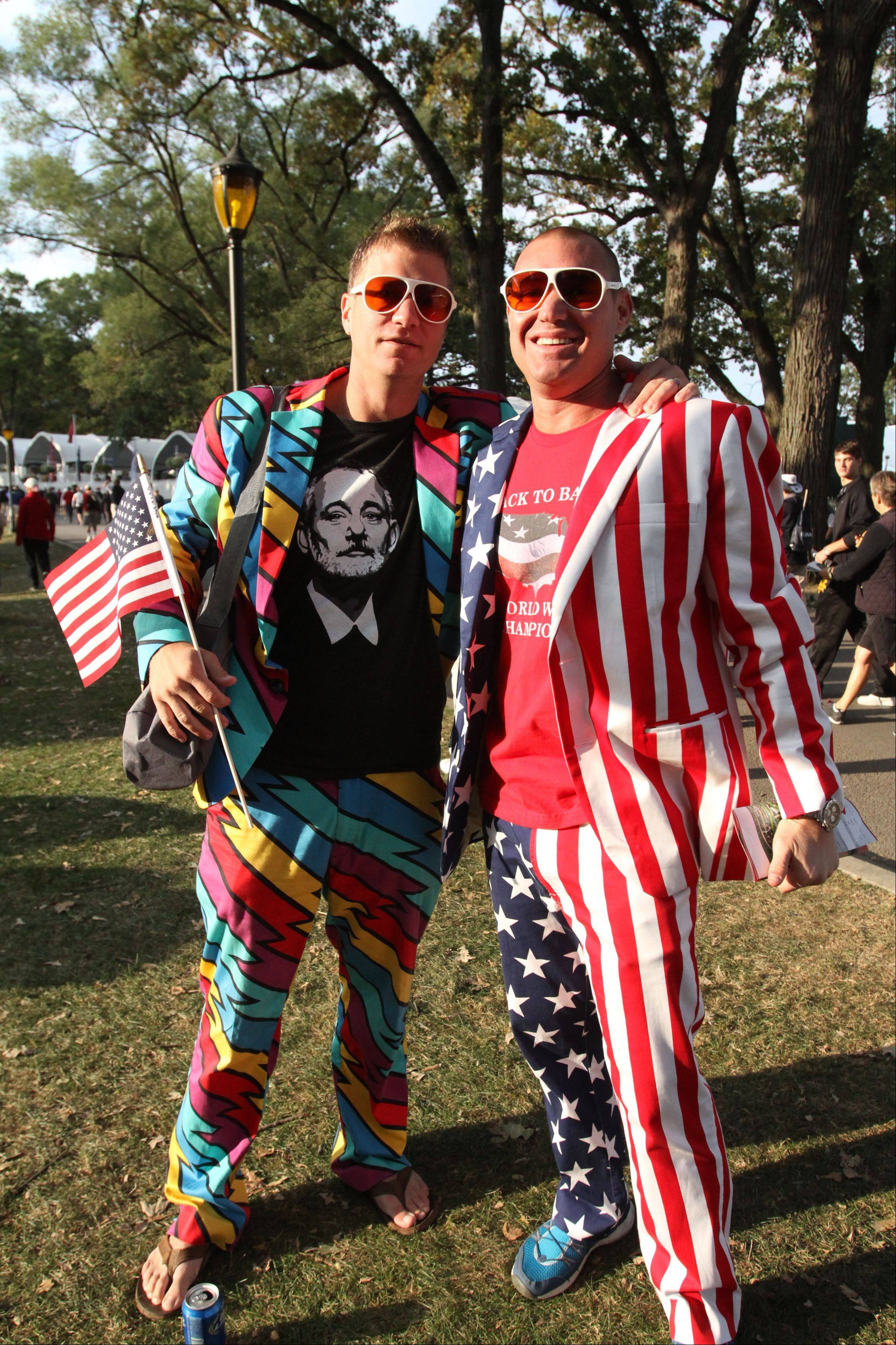 Rusty Moore, left, from Florida and Justin Maderer of Naperville are all decked in their loud golf attire, Friday morning at the Ryder Cup at Medinah Country Club.