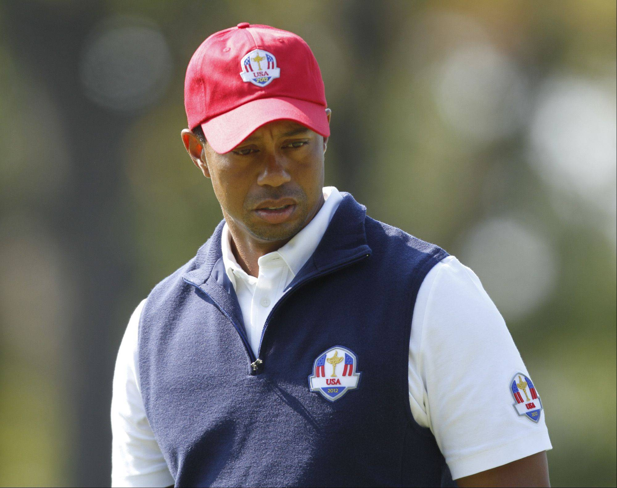 Tiger Woods on opening day of the 2012 Ryder Cup at Medinah Country Club.
