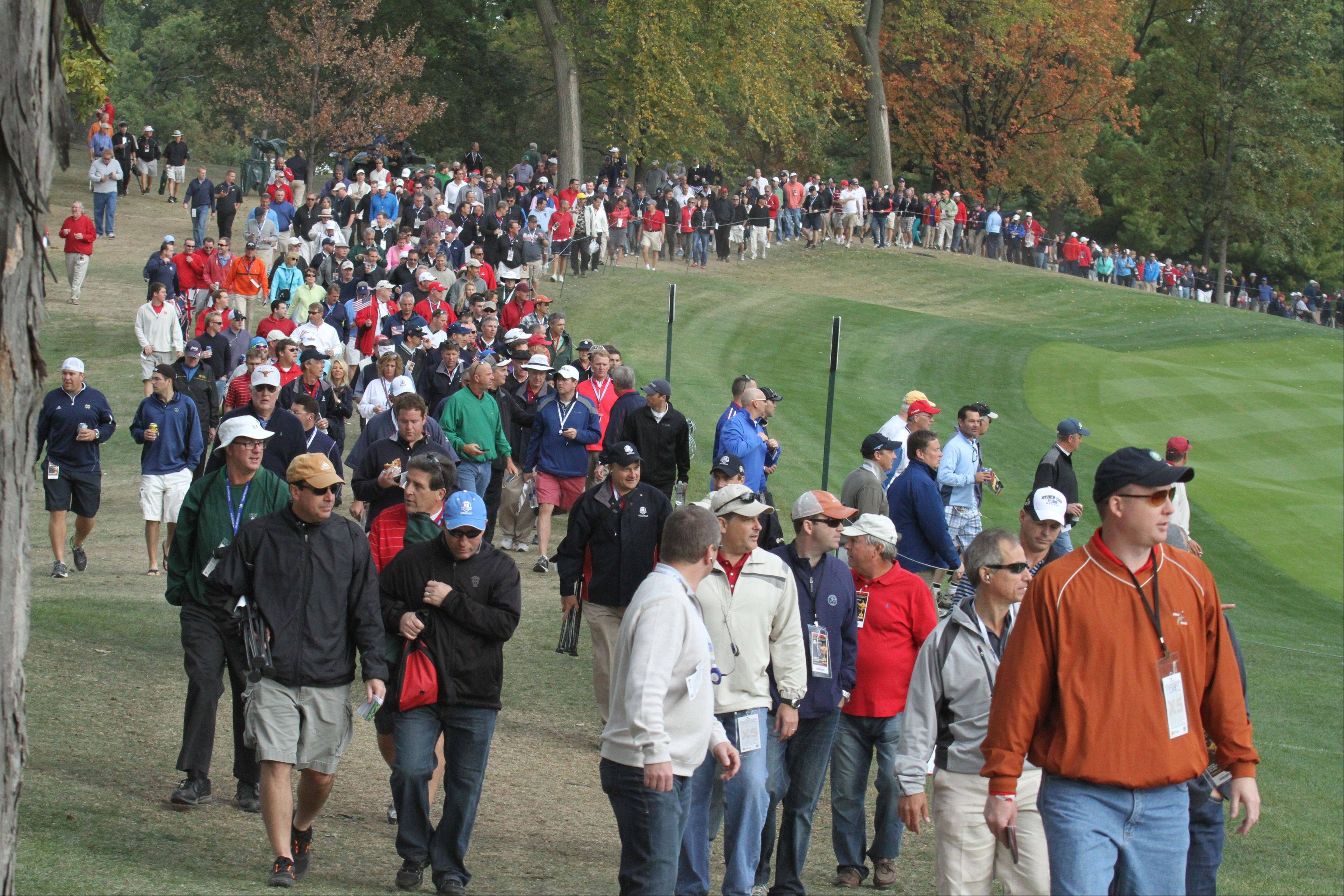 Thousands of spectators lined the fairways at Medinah Country Club on Friday during the first round of the Ryder Cup.