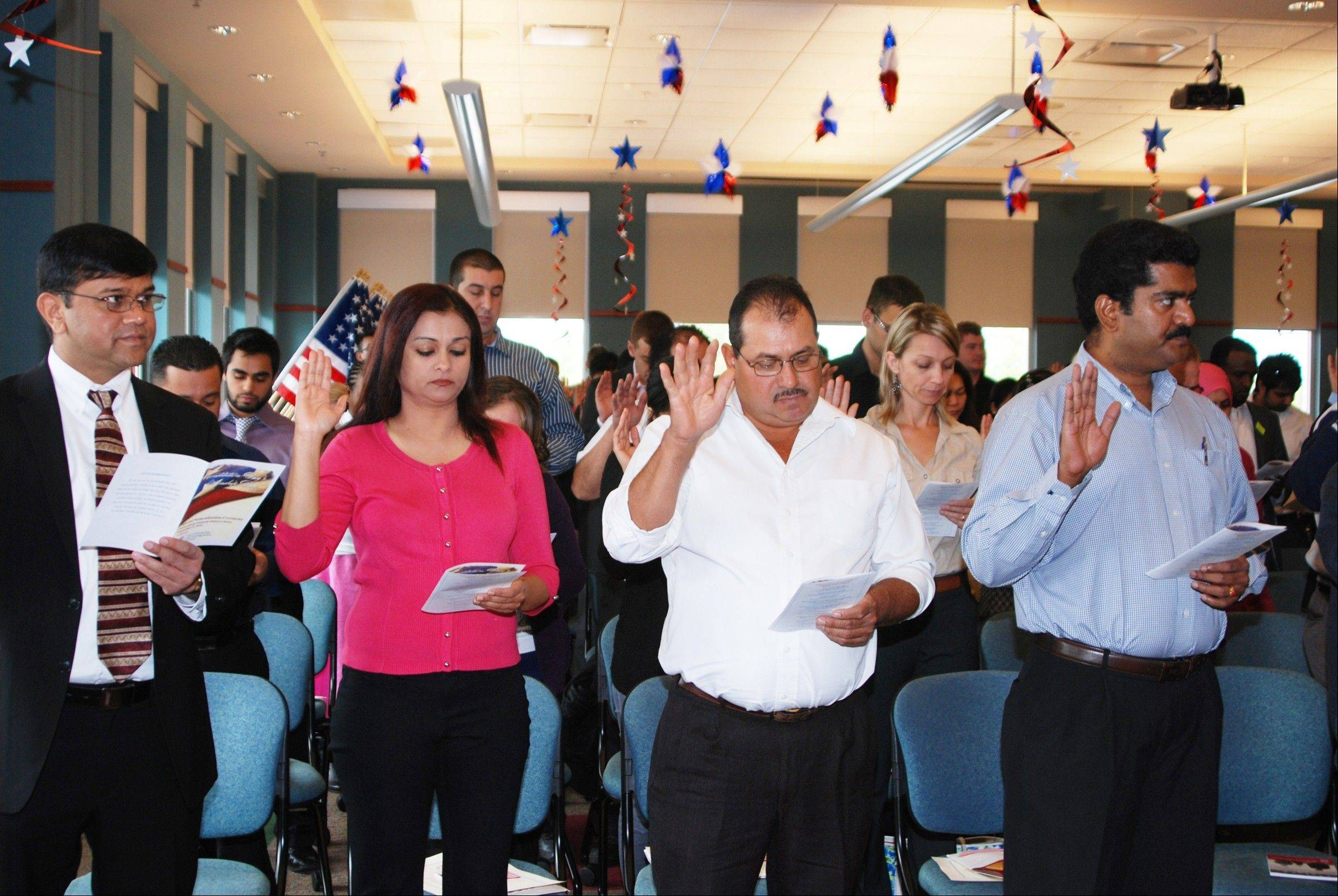 On Sept. 21, 82 immigrants took the Oath of Allegiance at the Schaumburg Township District Library.