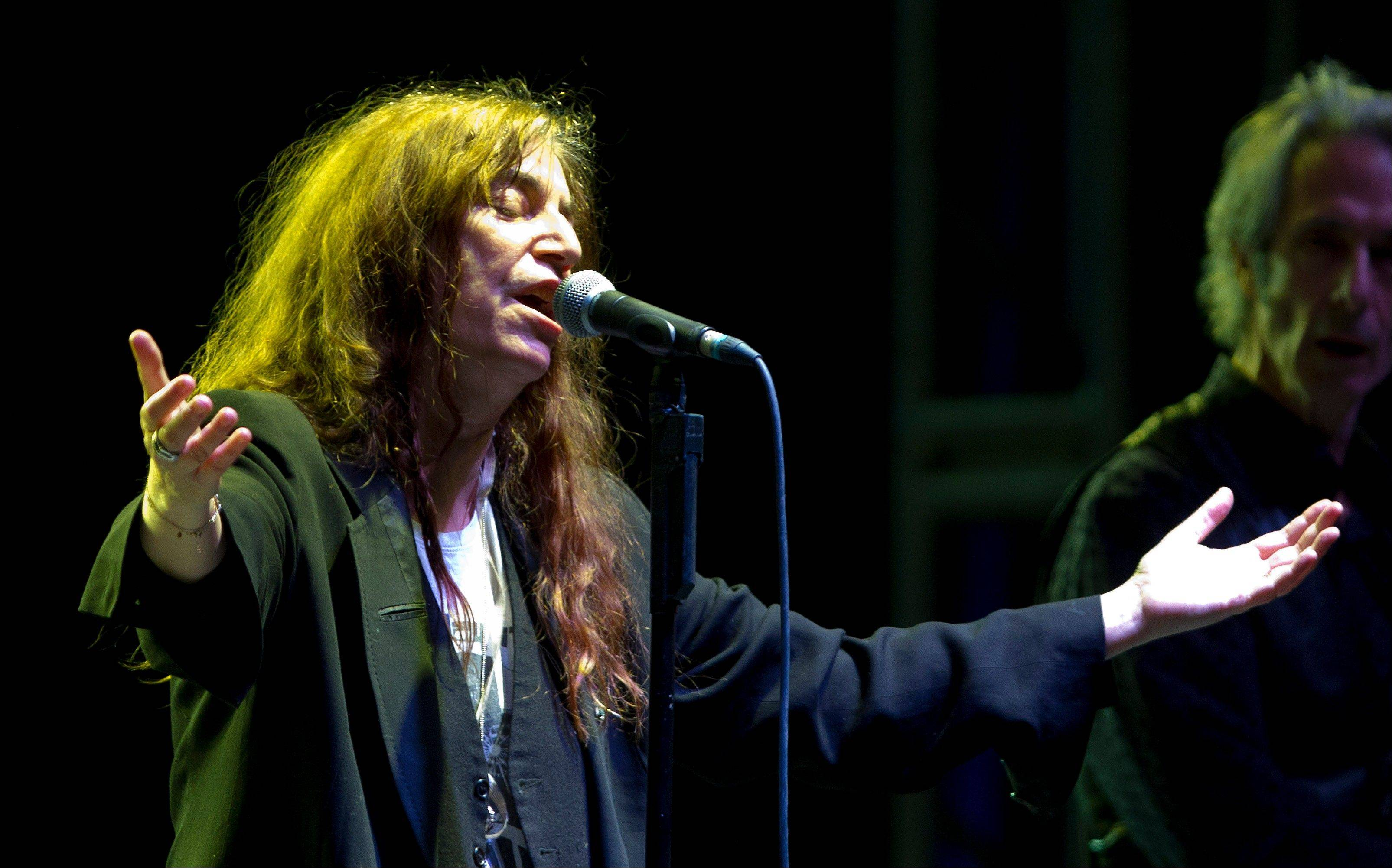 Rock singer Patti Smith performs during a May 5 concert in Mexico City.