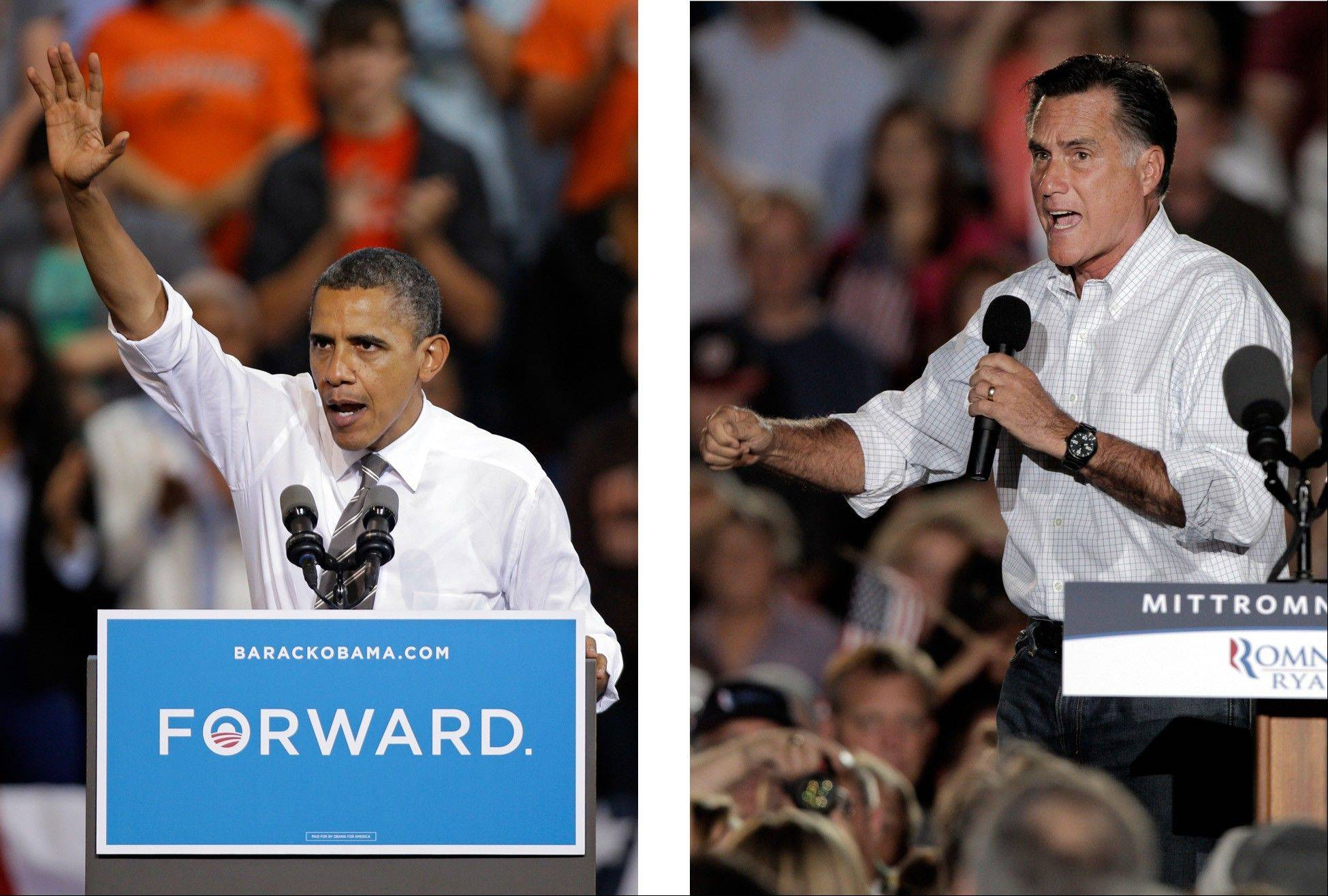 Associated PRESS PHOTO ILLUSTRATIONPresident Barack Obama and Republican presidential candidate Mitt Romney both campaign in the battleground state of Ohio. Fierce and determined competitors, Obama and Romney each have a specific mission for the string of three debates that starts Wednesday night.