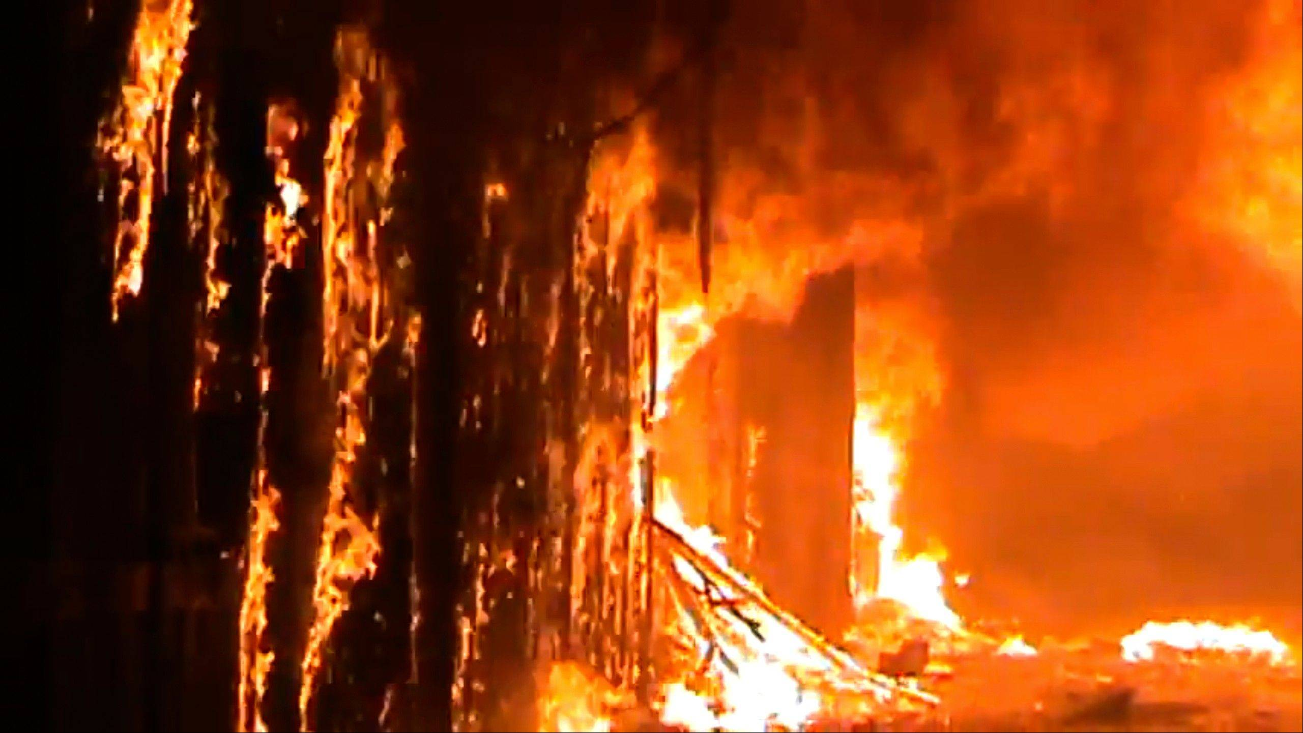 In this image taken from video obtained from Shaam News Network (SNN), which has been authenticated based on its contents and other AP reporting, a fire rages at a medieval souk in Aleppo, Syria. Syrian rebels and residents of Aleppo struggled Saturday to contain a huge fire that destroyed parts of the city's medieval souks, or markets, following raging battles between government troops and opposition fighters there, activists said. Some described the overnight blaze as the worst blow yet to a historic district that helped make the heart of Aleppo, Syria's largest city and commercial hub, a UNESCO world heritage site.